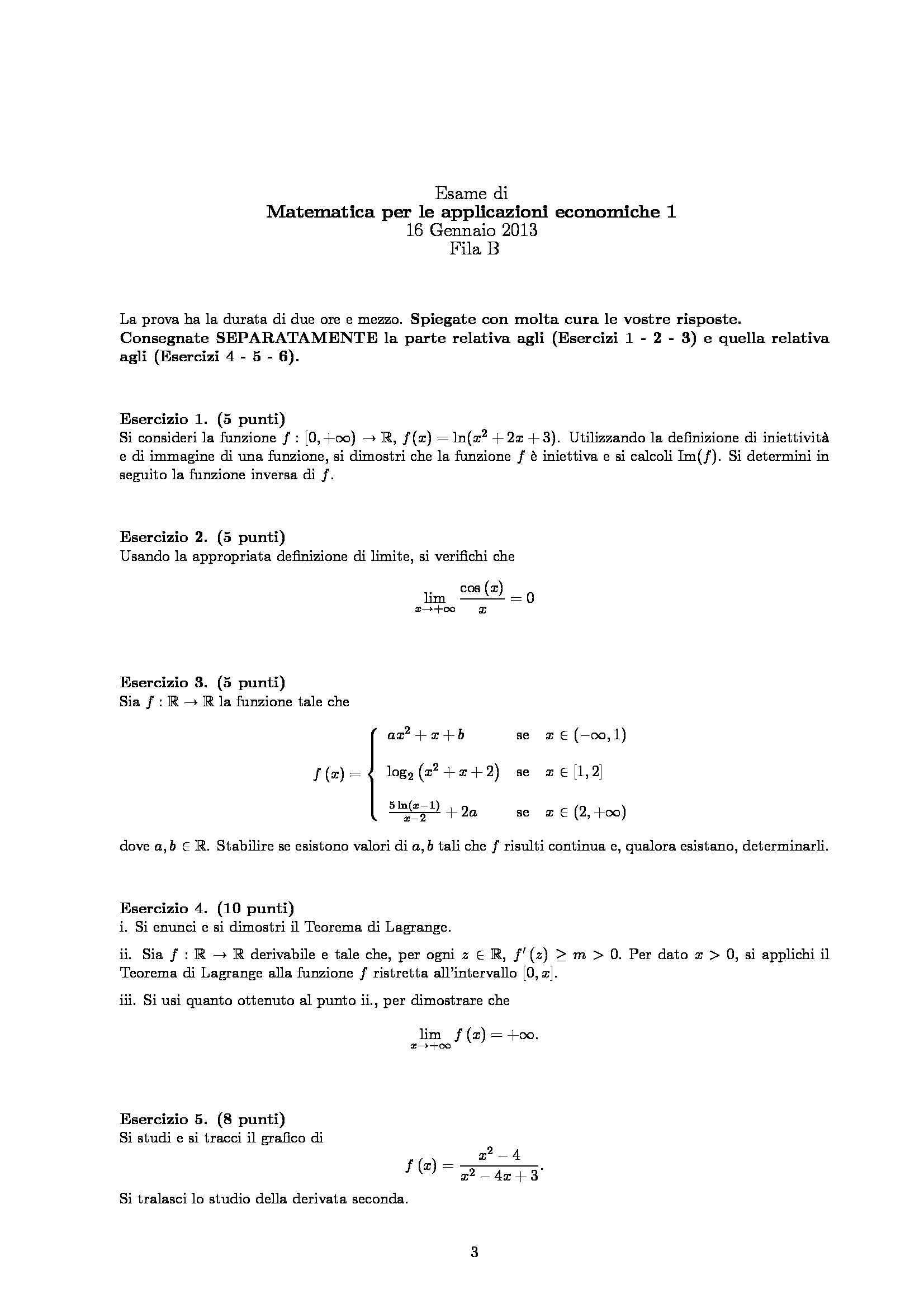 Matematica per le applicazioni economiche - esercizi Pag. 6