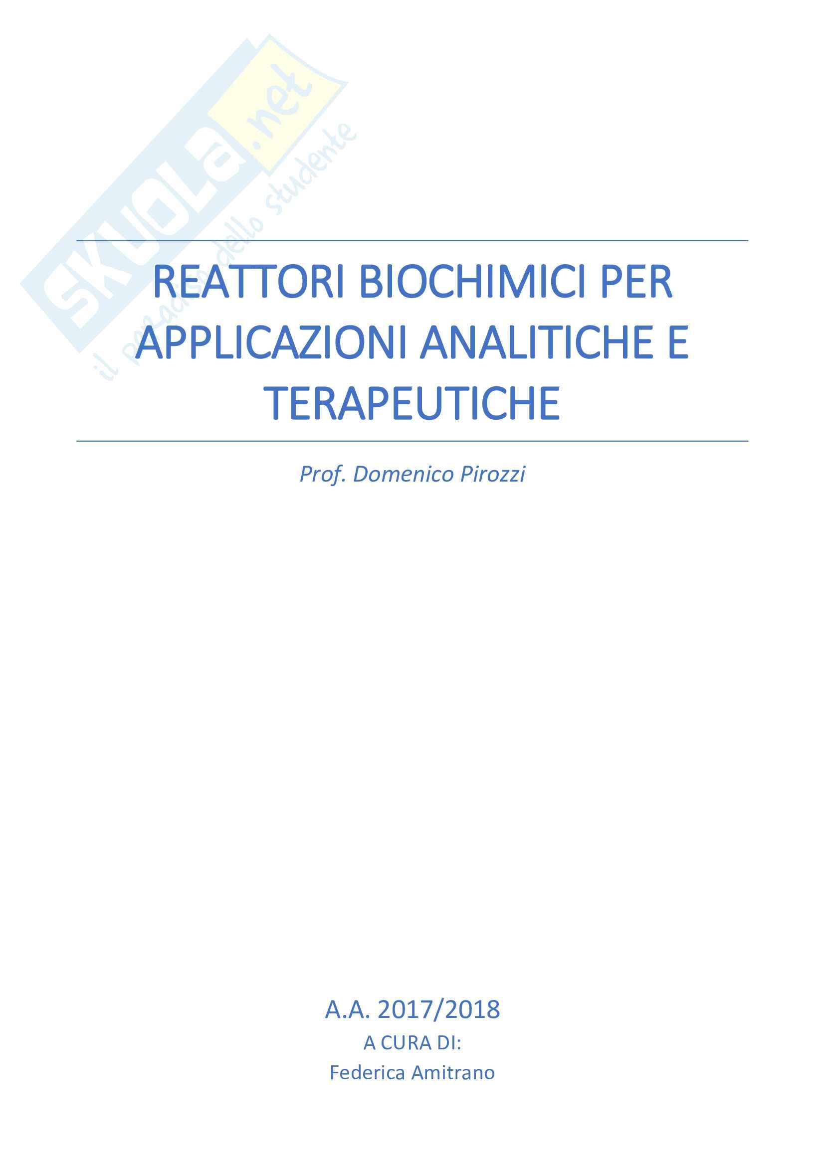 Reattori Biochimici per Applicazioni Analitiche e Terapeutiche (RBAAT) - Prof. D. Pirozzi