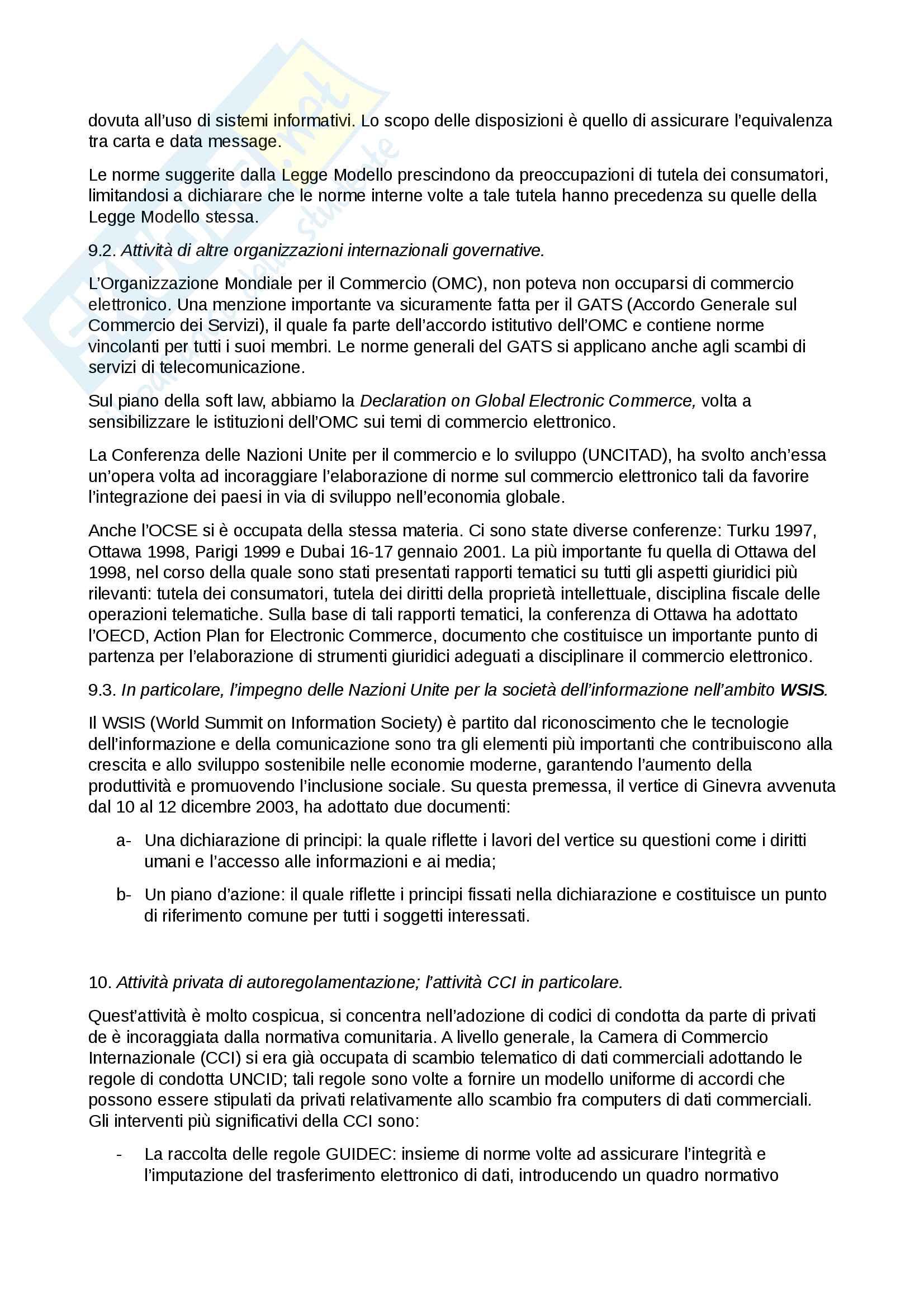 """Riassunto esame per l'esame di """"Internet nel diritto internazionale"""", prof. Draetta, libro consigliato """"Internet e commercio elettronico nel diritto internazionale dei privati"""" di Draetta Pag. 16"""