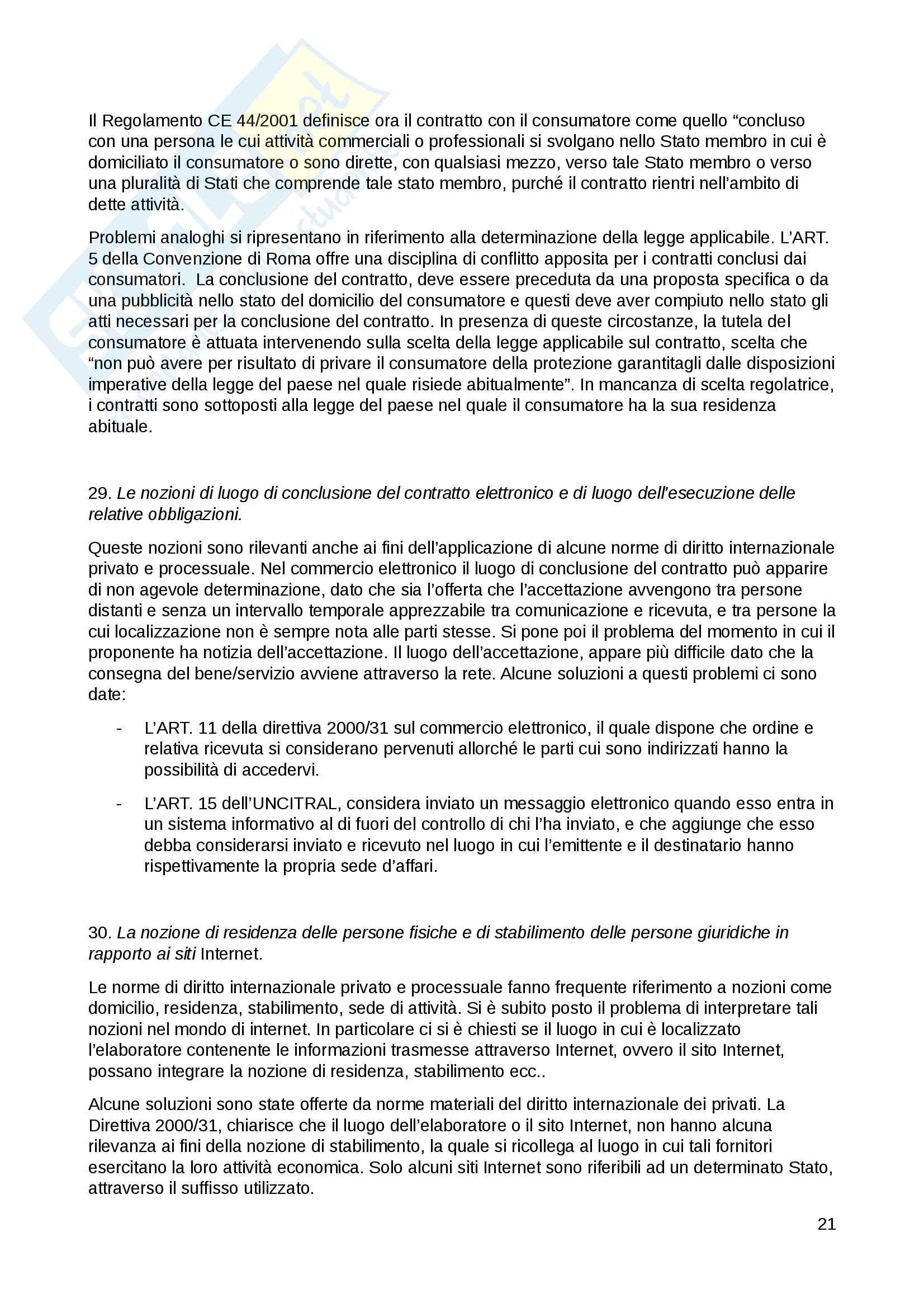 """Riassunto esame per l'esame di """"Internet nel diritto internazionale"""", prof. Draetta, libro consigliato """"Internet e commercio elettronico nel diritto internazionale dei privati"""" di Draetta Pag. 21"""