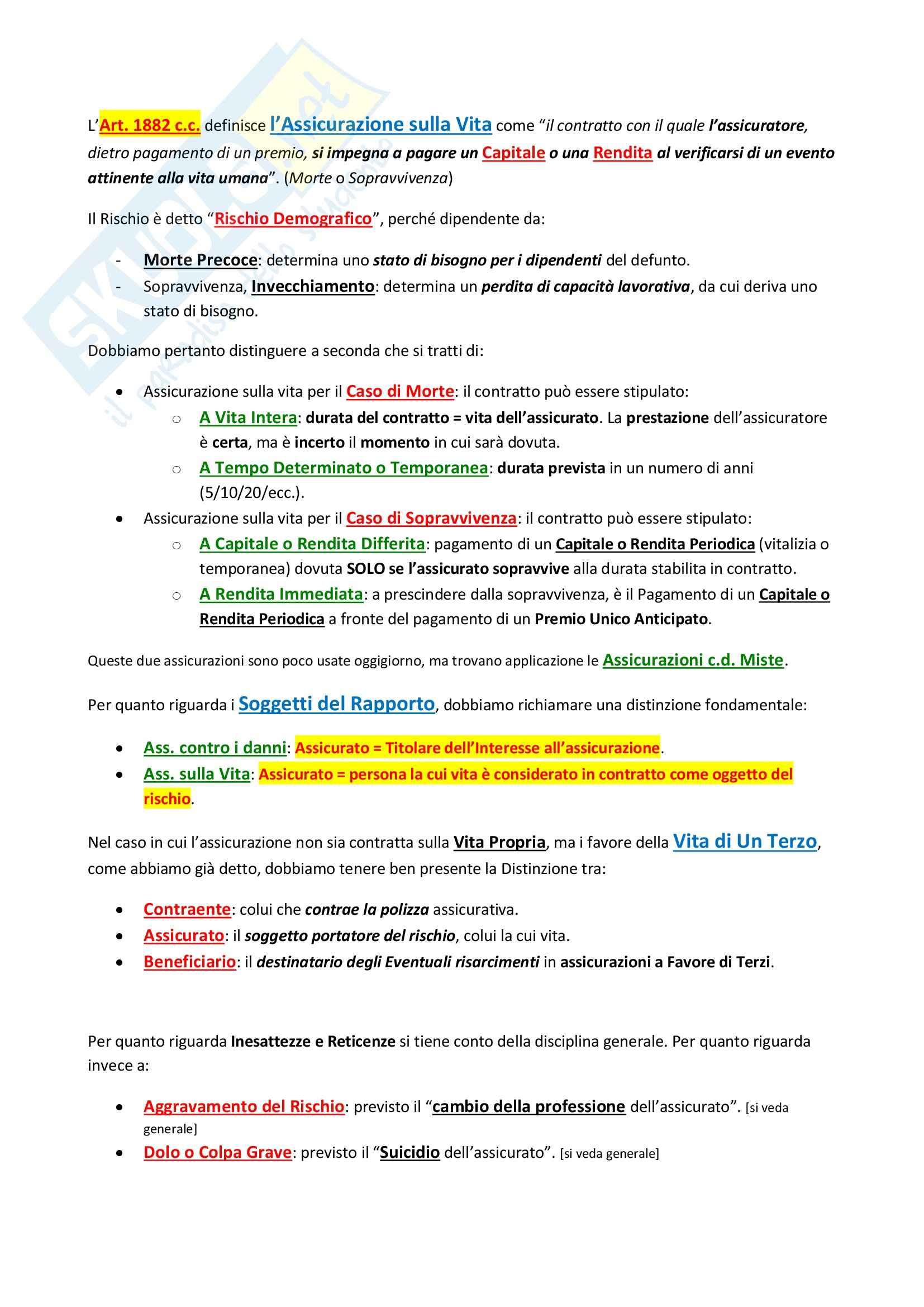 Diritto delle Assicurazioni - non frequentante Pag. 21