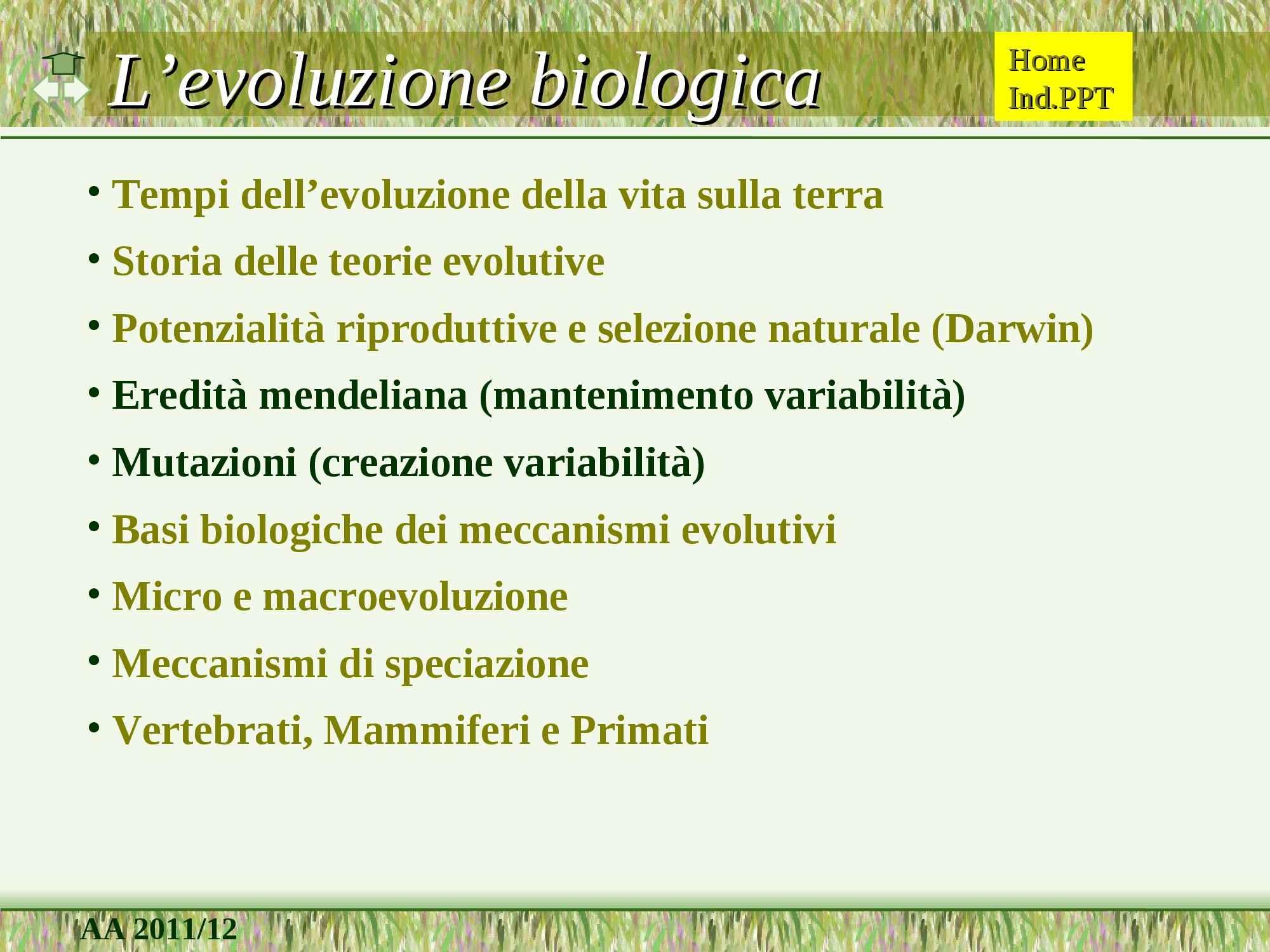 Evoluzione biologica e selezione naturale