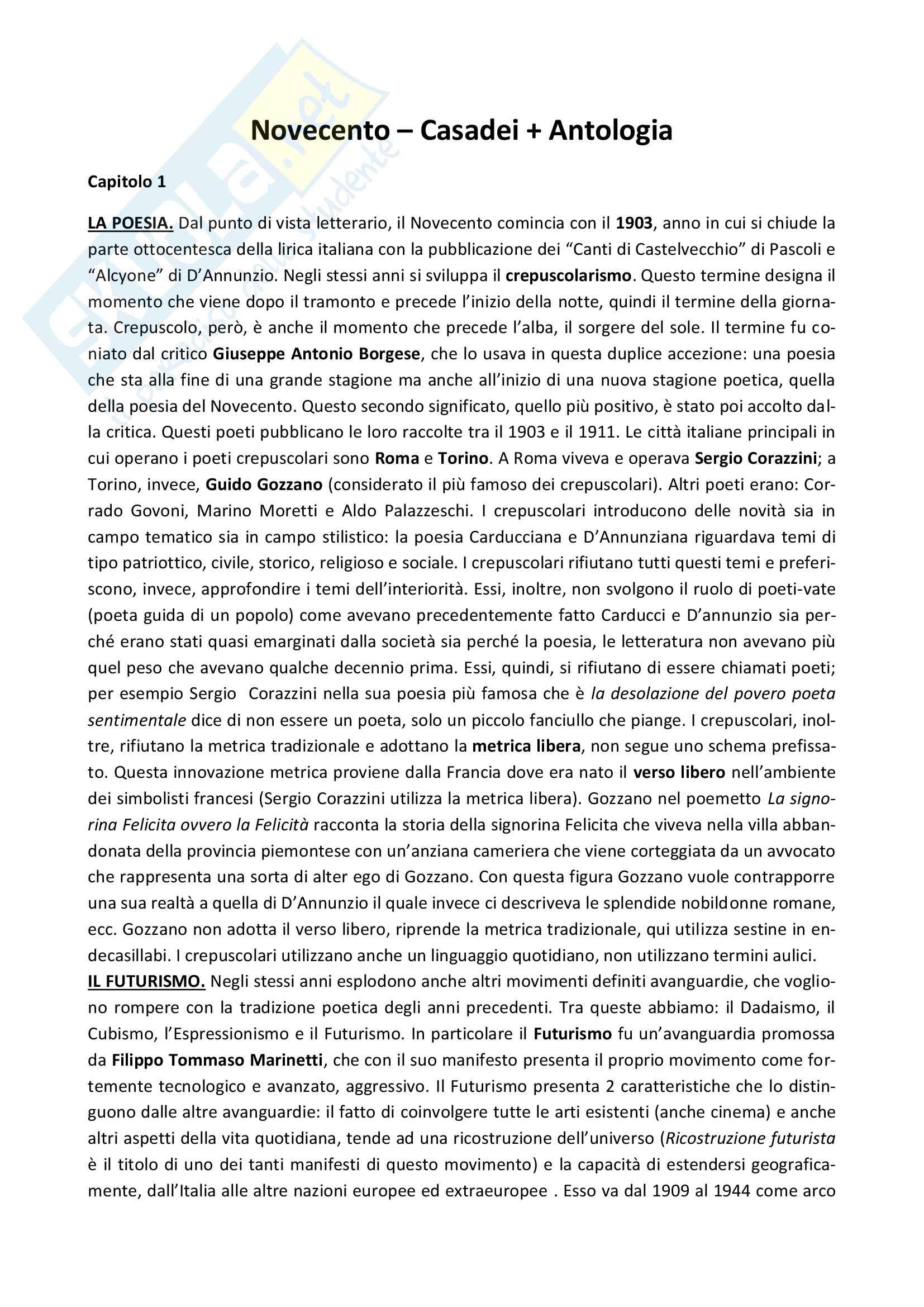 Riassunto esame Letteratura Italiana Contemporanea, prof. Giannone, libro consigliato Novecento, Casadei