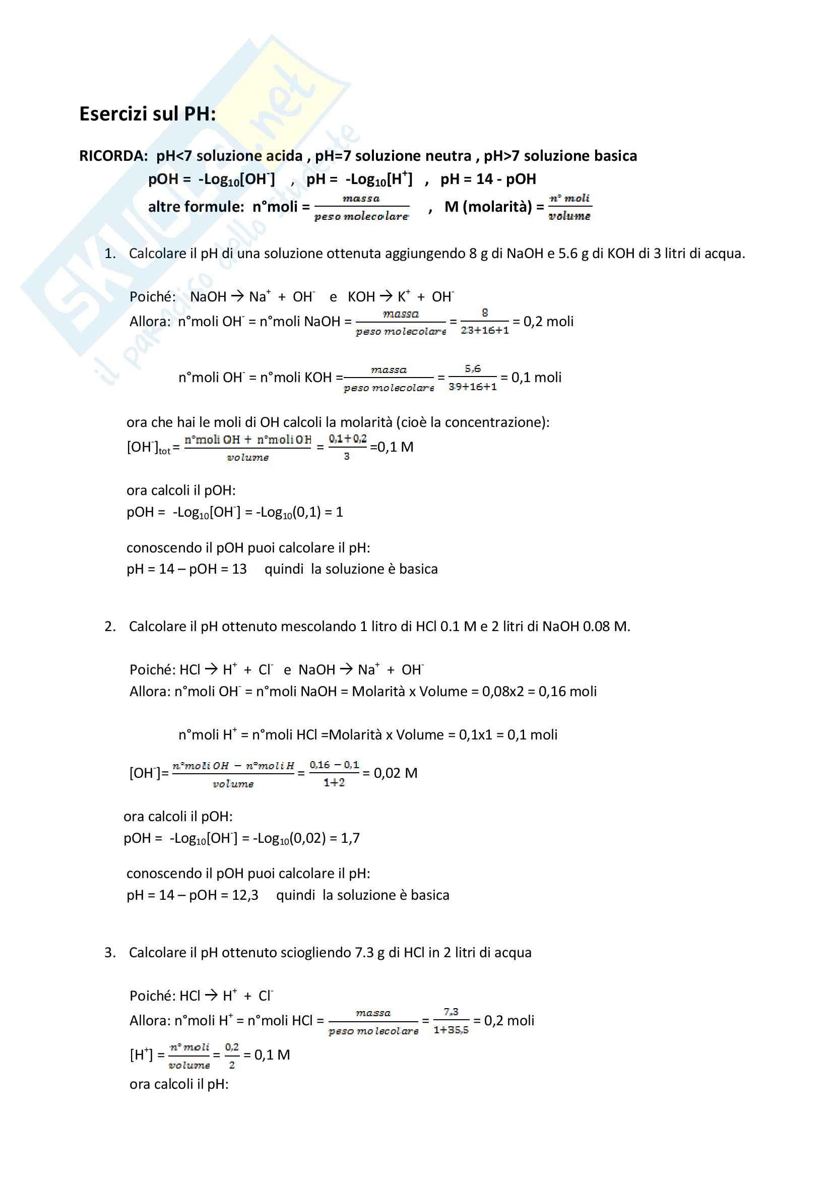 Chimica - Esercizi di stechiometria