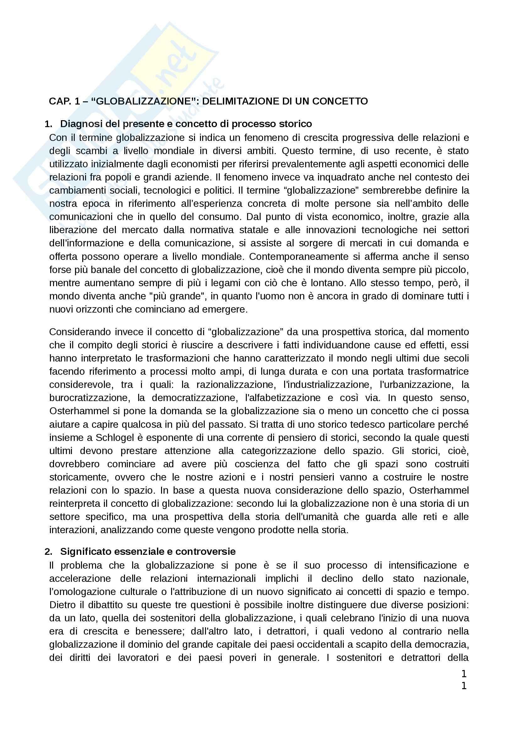 Riassunto esame Teorie Politiche, prof. Chiantera, libro consigliato Storia della Globalizzazione, Osterhammel