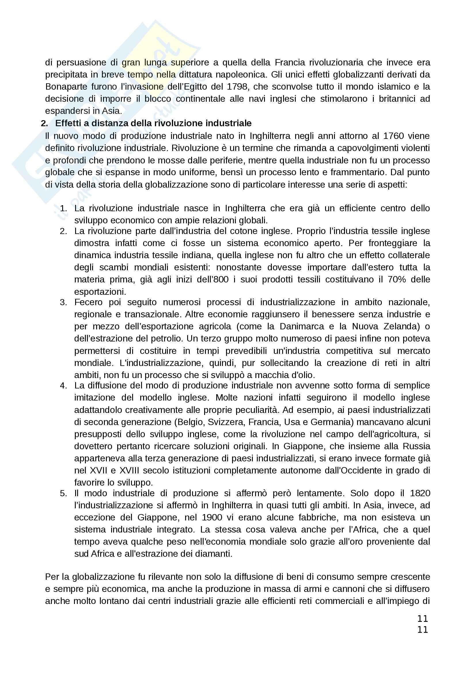 Riassunto esame Teorie Politiche, prof. Chiantera, libro consigliato Storia della Globalizzazione, Osterhammel Pag. 11