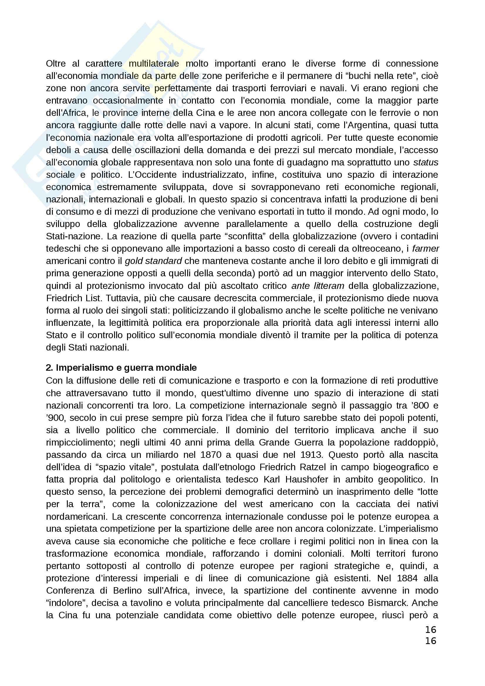 Riassunto esame Teorie Politiche, prof. Chiantera, libro consigliato Storia della Globalizzazione, Osterhammel Pag. 16