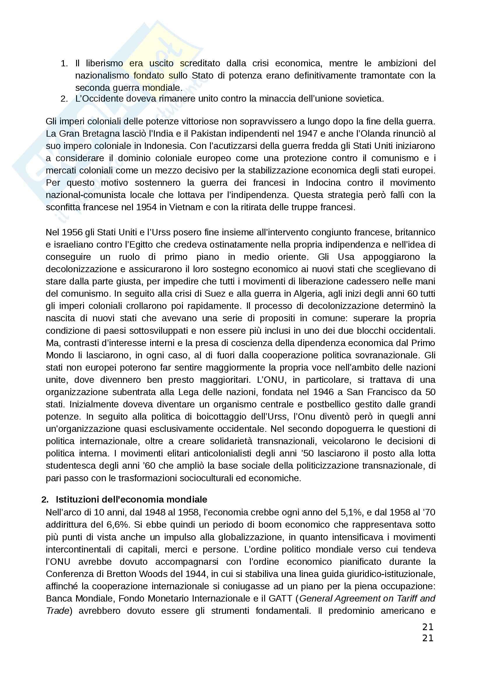Riassunto esame Teorie Politiche, prof. Chiantera, libro consigliato Storia della Globalizzazione, Osterhammel Pag. 21
