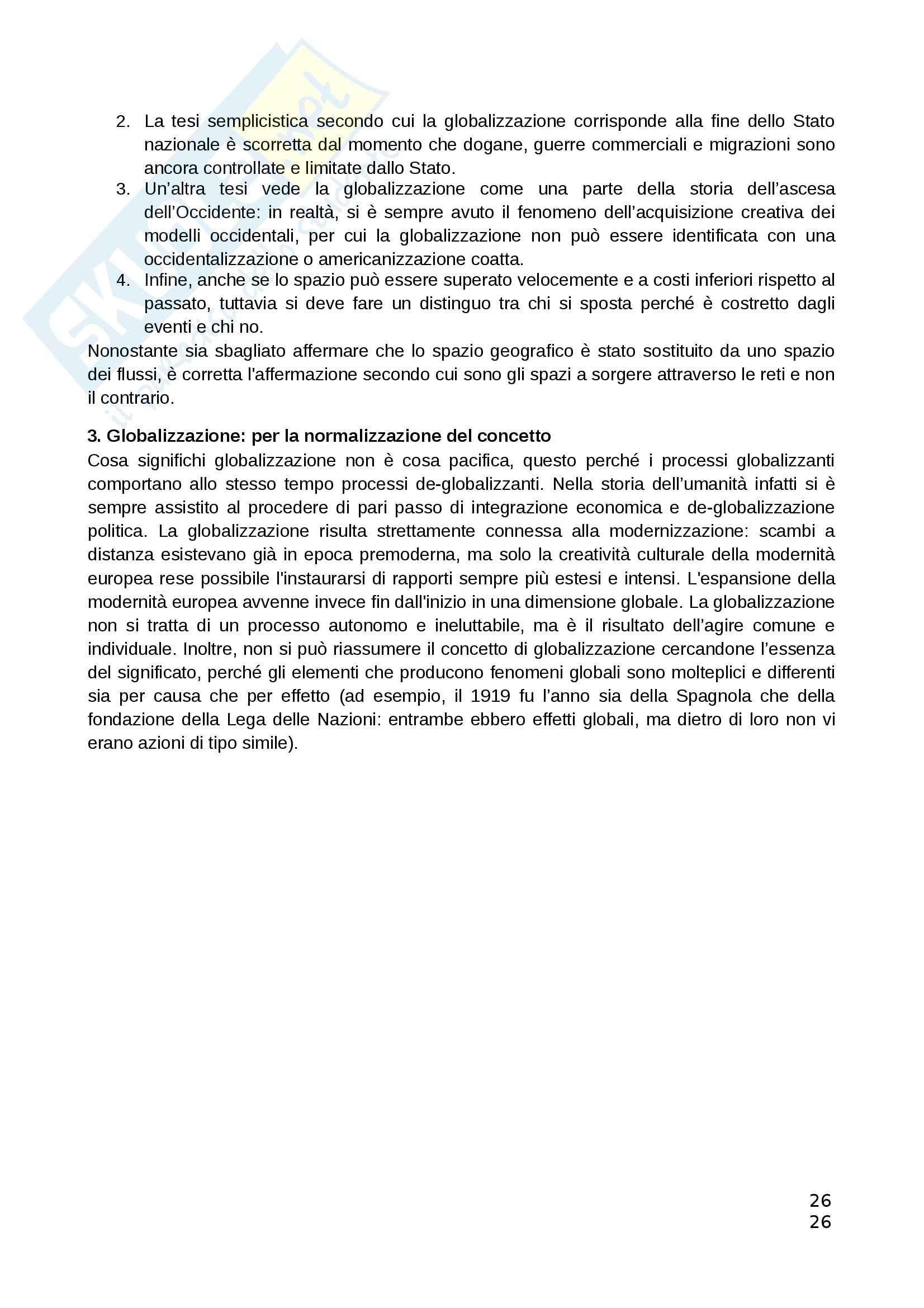 Riassunto esame Teorie Politiche, prof. Chiantera, libro consigliato Storia della Globalizzazione, Osterhammel Pag. 26