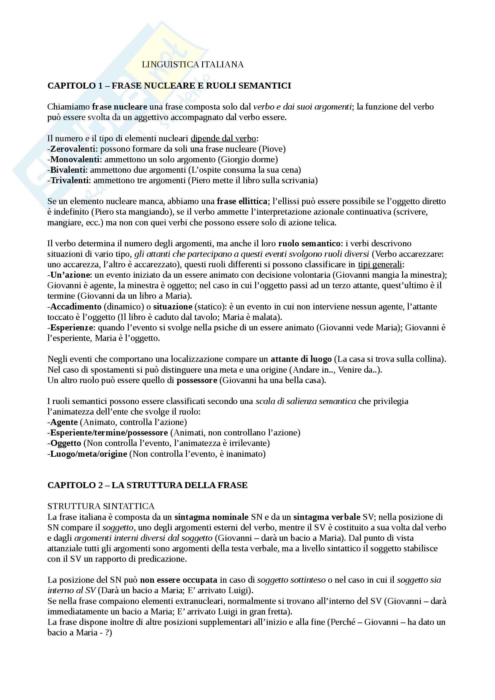 Riassunto esame Linguistica italiana, prof. Tavoni, libro consigliato Nuova grammatica italiana, Salvi, Vanelli