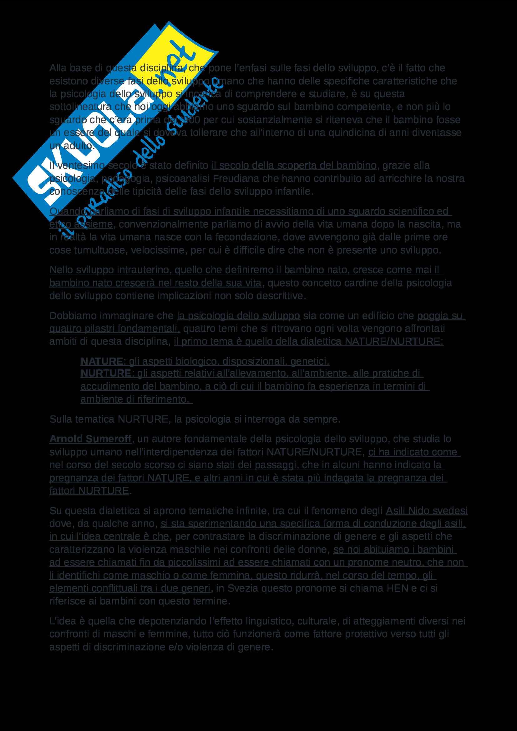 Riassunto esame Psicologia dello Sviluppo, Prof. Nicolais, libro consigliato Manuale Psicologia dello Sviluppo, Shaffer e Kipp Pag. 2