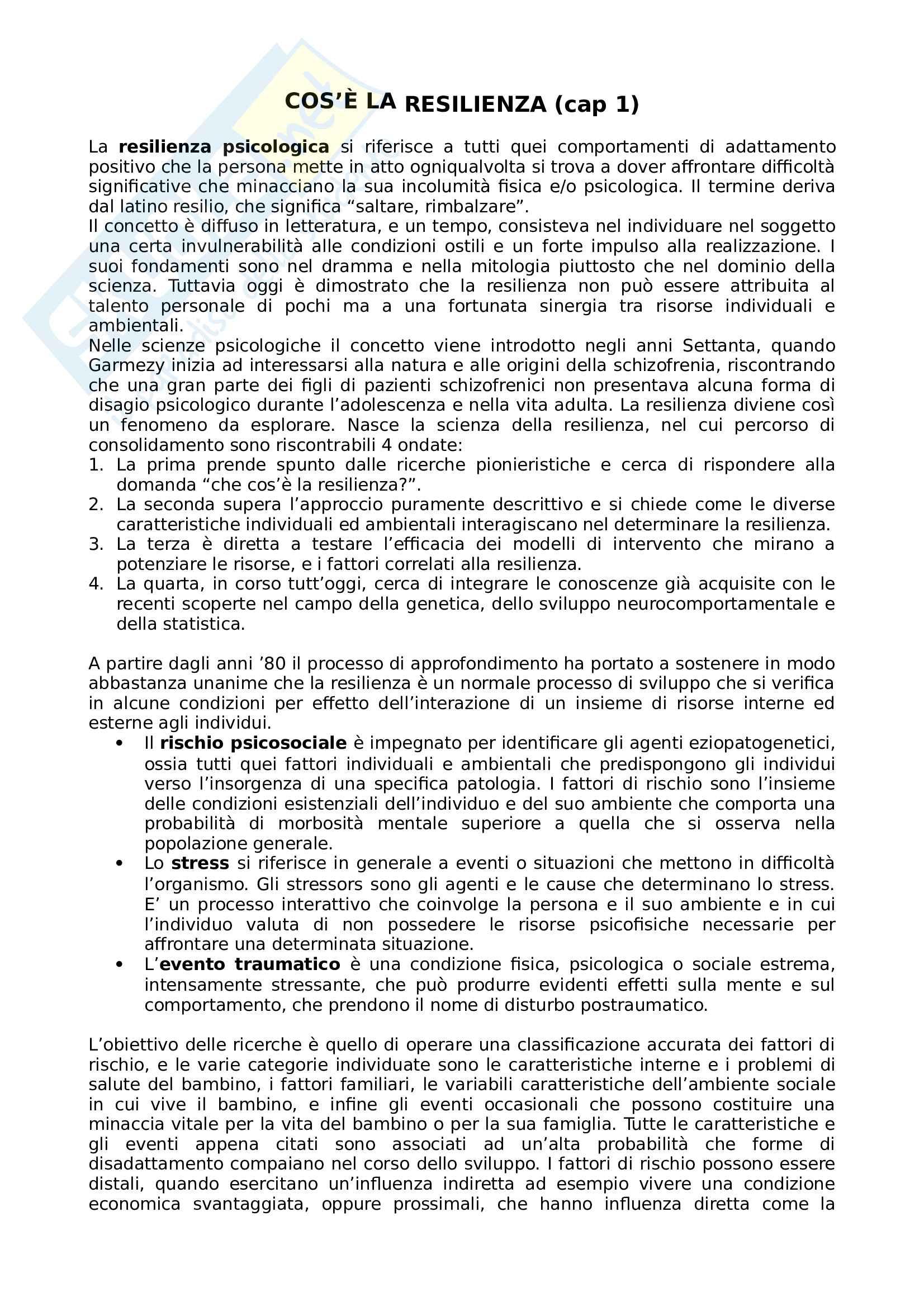 Riassunto esame Psicologia dello sviluppo, prof. Lavelli, libro consigliato Resilienza e vulnerabilità psicologica nel corso dello sviluppo, Inguglia, Lo Coco
