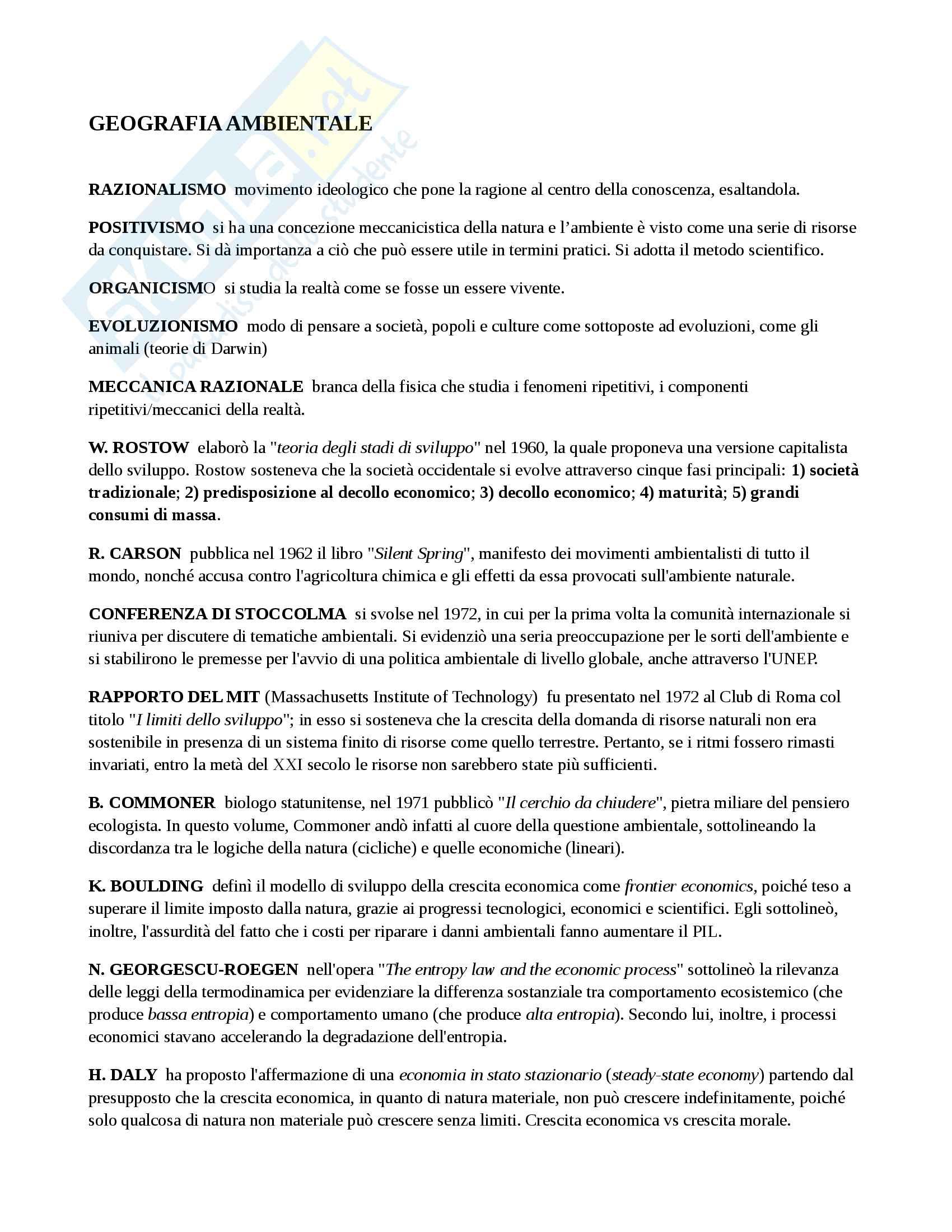 Appunti per l'esame di Geografia ambientale, prof. Tiziana Banini