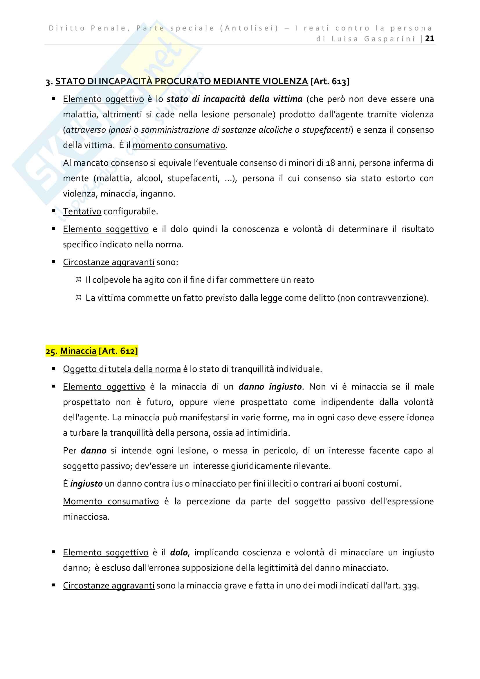 Riassunto esame Diritto Penale - Parte speciale, professor Prosdocimi, libro consigliato Diritto Penale Parte Speciale Antolisei Pag. 21