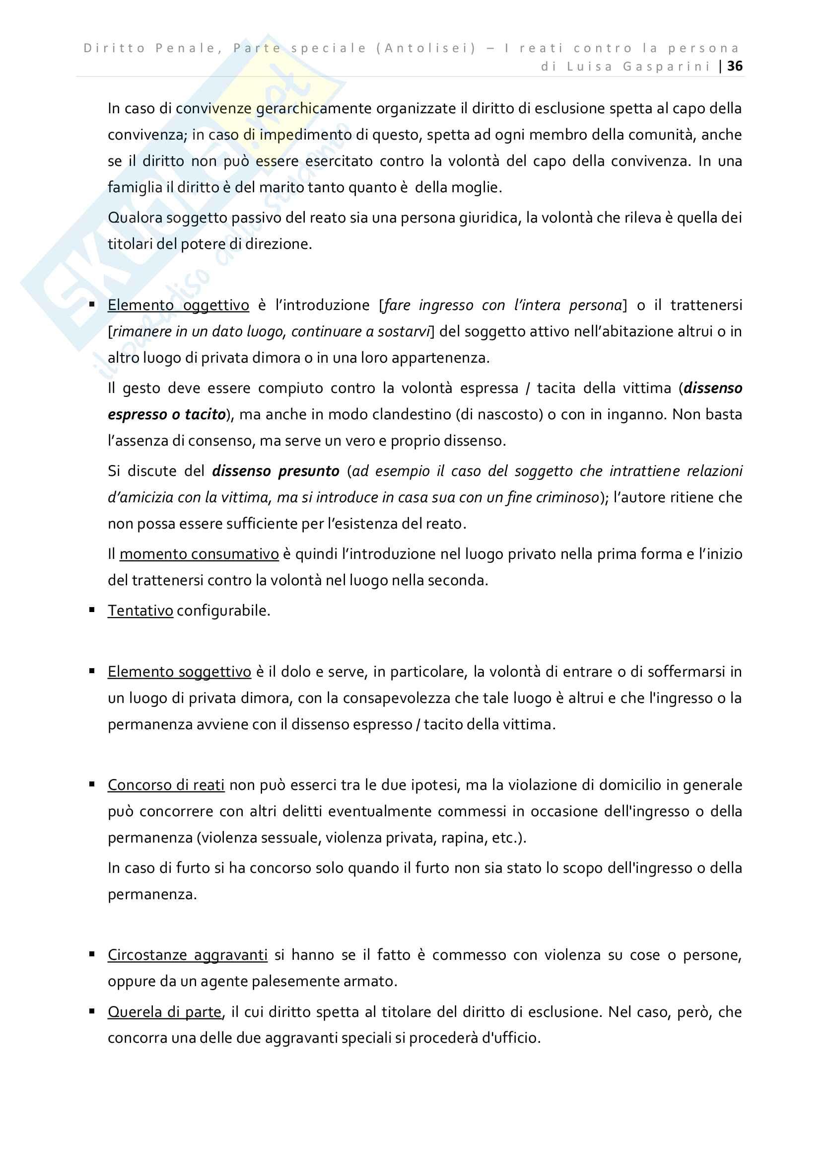 Riassunto esame Diritto Penale - Parte speciale, professor Prosdocimi, libro consigliato Diritto Penale Parte Speciale Antolisei Pag. 36
