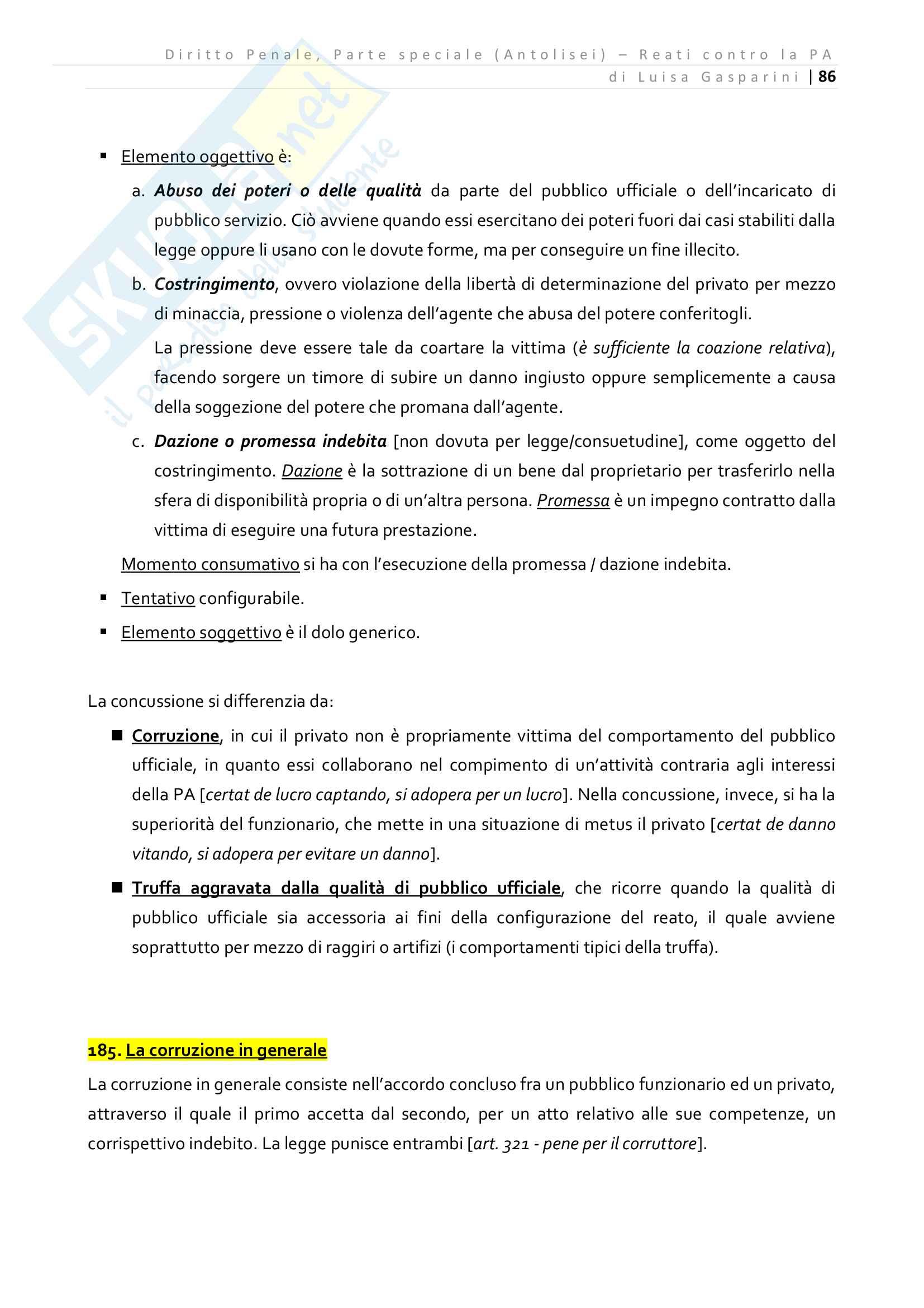 Riassunto esame Diritto Penale - Parte speciale, professor Prosdocimi, libro consigliato Diritto Penale Parte Speciale Antolisei Pag. 86