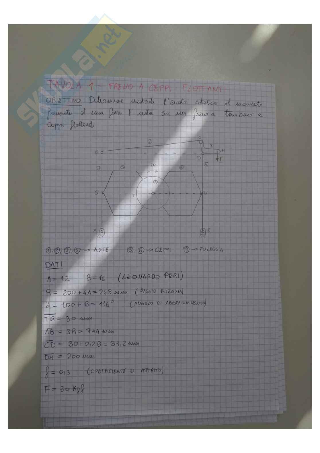Tavole del Laboratorio di Meccanica applicata complete Pag. 1