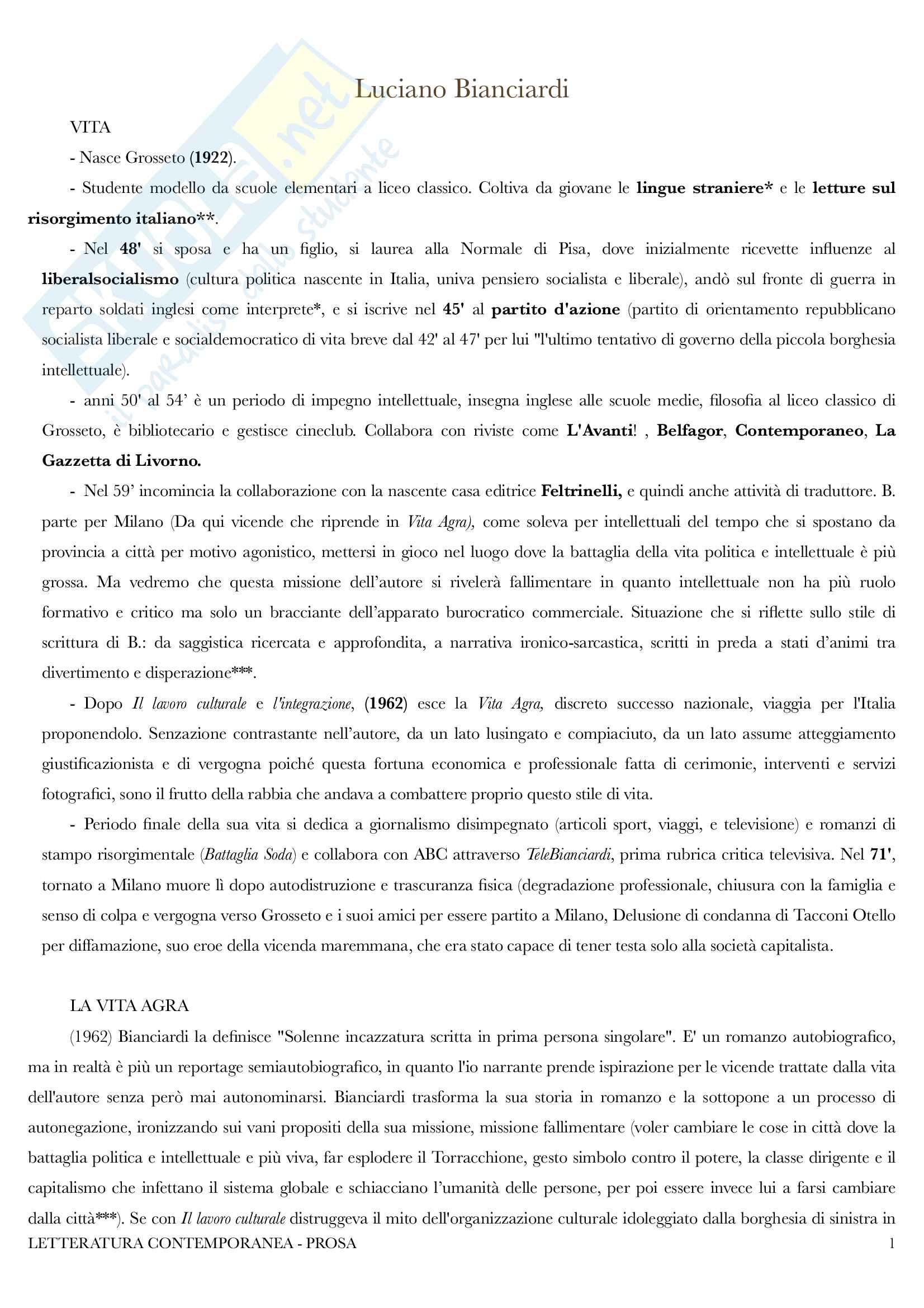 Riassunto esame letteratura contemporanea - Docente Lorenzini
