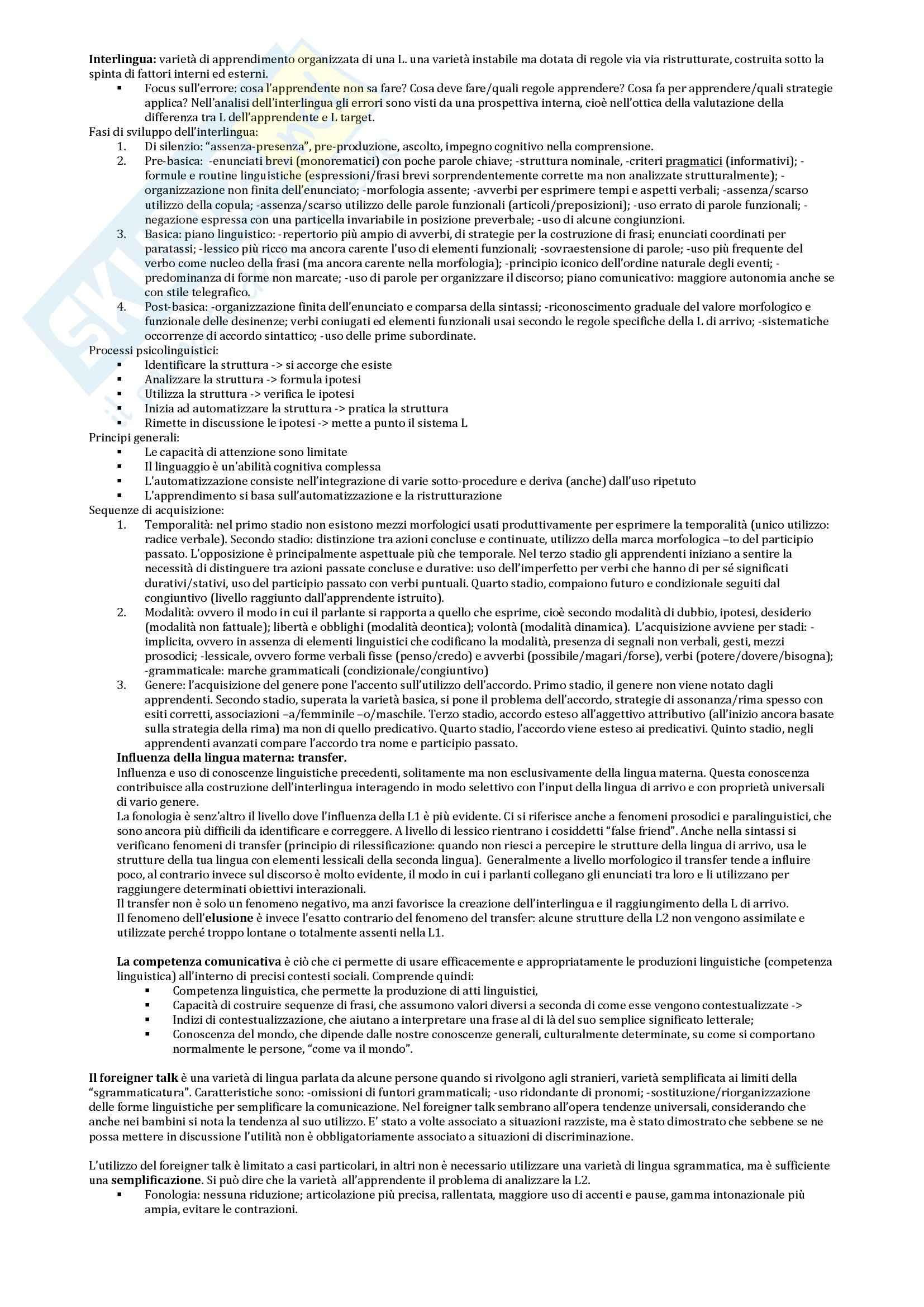 Riassunto esame Didattica della lingua italiana, prof. Pugliese, libro consigliato La seconda lingua, Pallotti