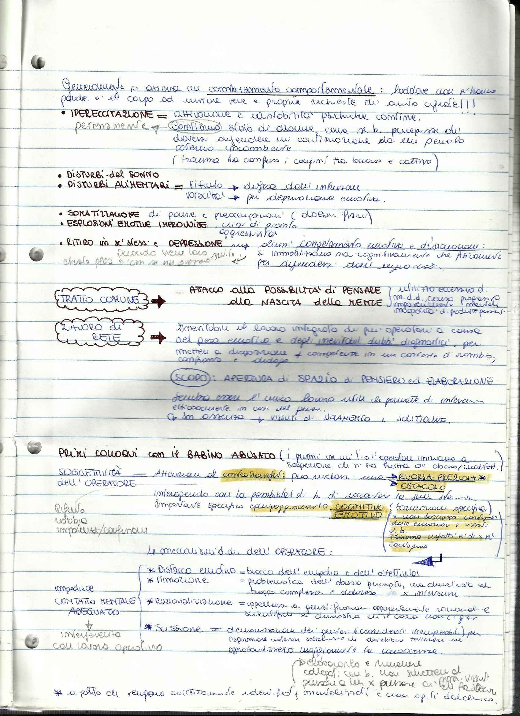Riassunto esame Colloquio ad Orientamento Psicoanalitico, prof. Ferruzza, libro consigliato Colloquio Psicologico nel Ciclo di Vita Nicolini Pag. 11
