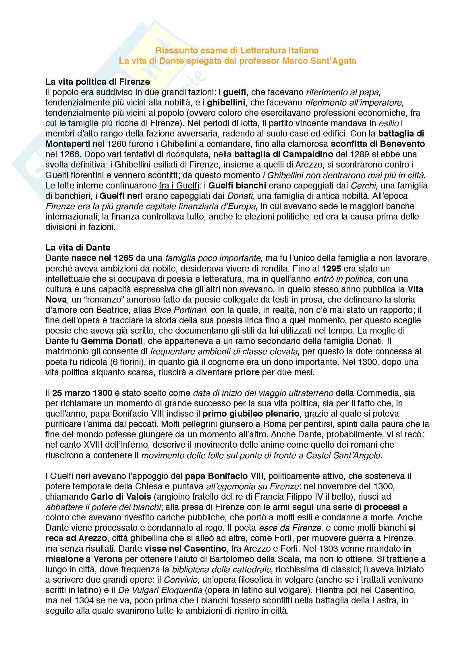 """Riassunto esame Letteratura Italiana, prof. Santagata e Pacca, libro adottato """"Dante. Il romanzo della sua vita"""" di Marco Santagata"""