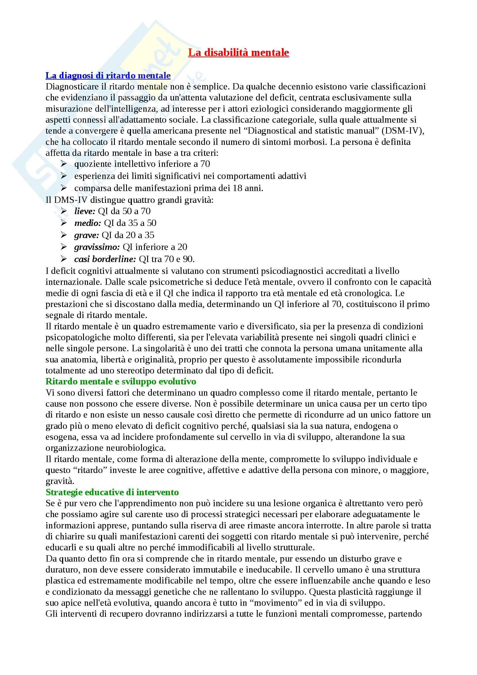 Riassunto esame Pedagogia, prof. Cottini, libro consigliato Per una didattica speciale di qualità