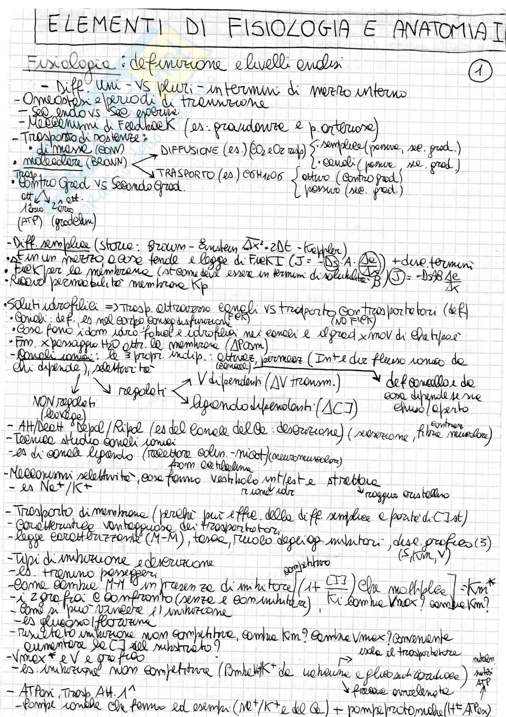 Anatomia, Biologia e Fisiologia I - Schemi Di Riepilogo
