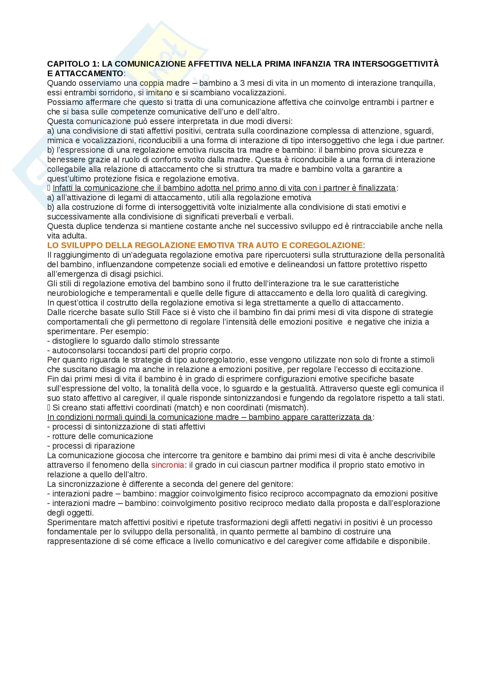 Riassunto esame psicologia del ciclo di vita, prof Cristina Riva Crugnola, libro consigliato La relazione genitore - bambino