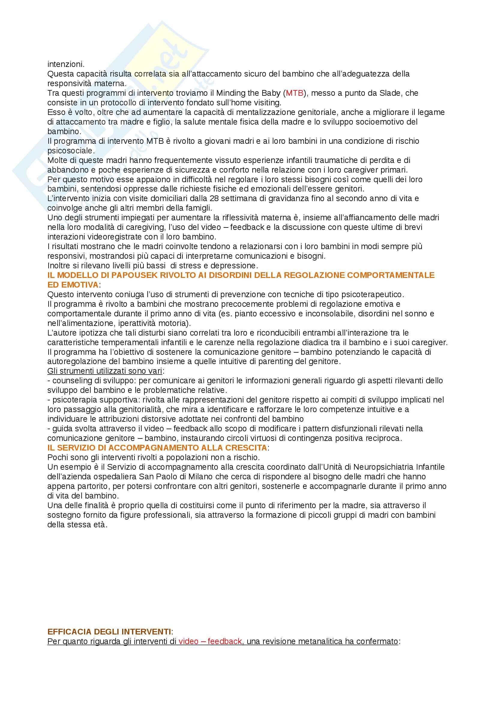 Riassunto esame psicologia del ciclo di vita, prof Cristina Riva Crugnola, libro consigliato La relazione genitore - bambino Pag. 31