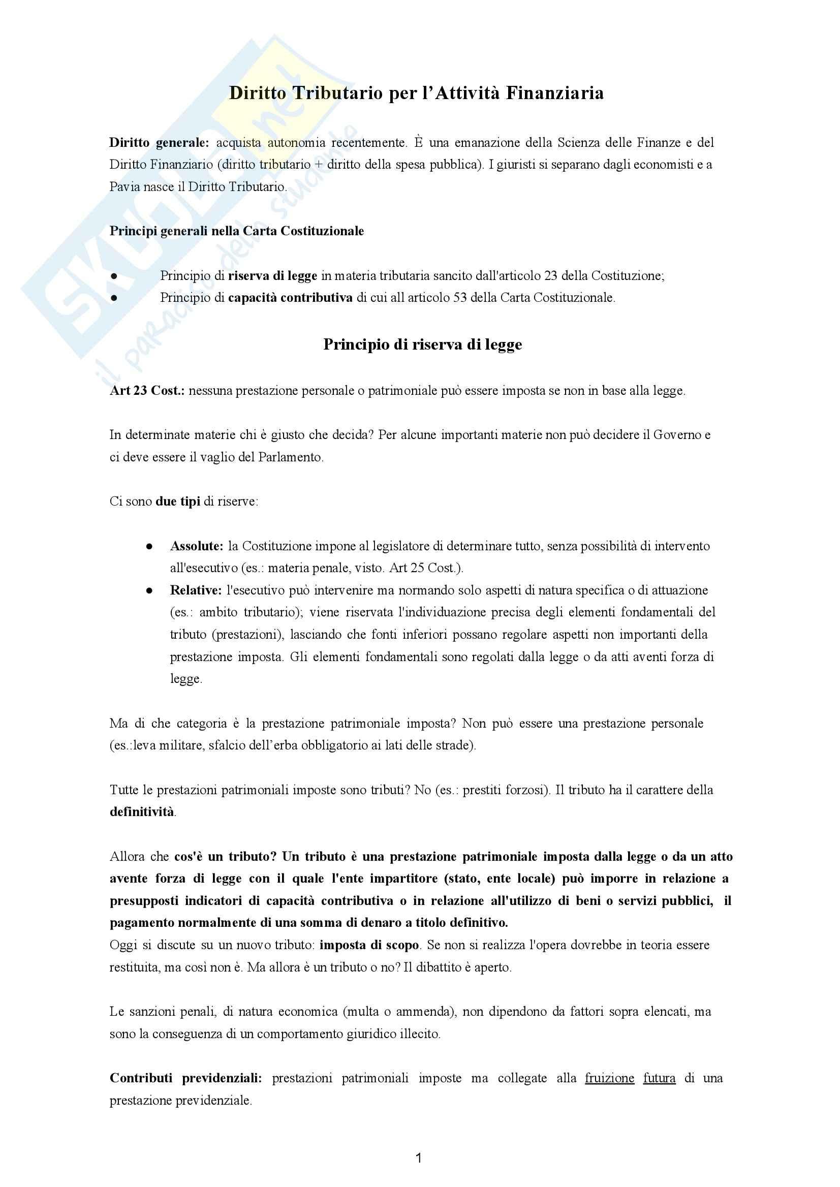 Appunti di Diritto Tributario per l'Attività Finanziaria 2013