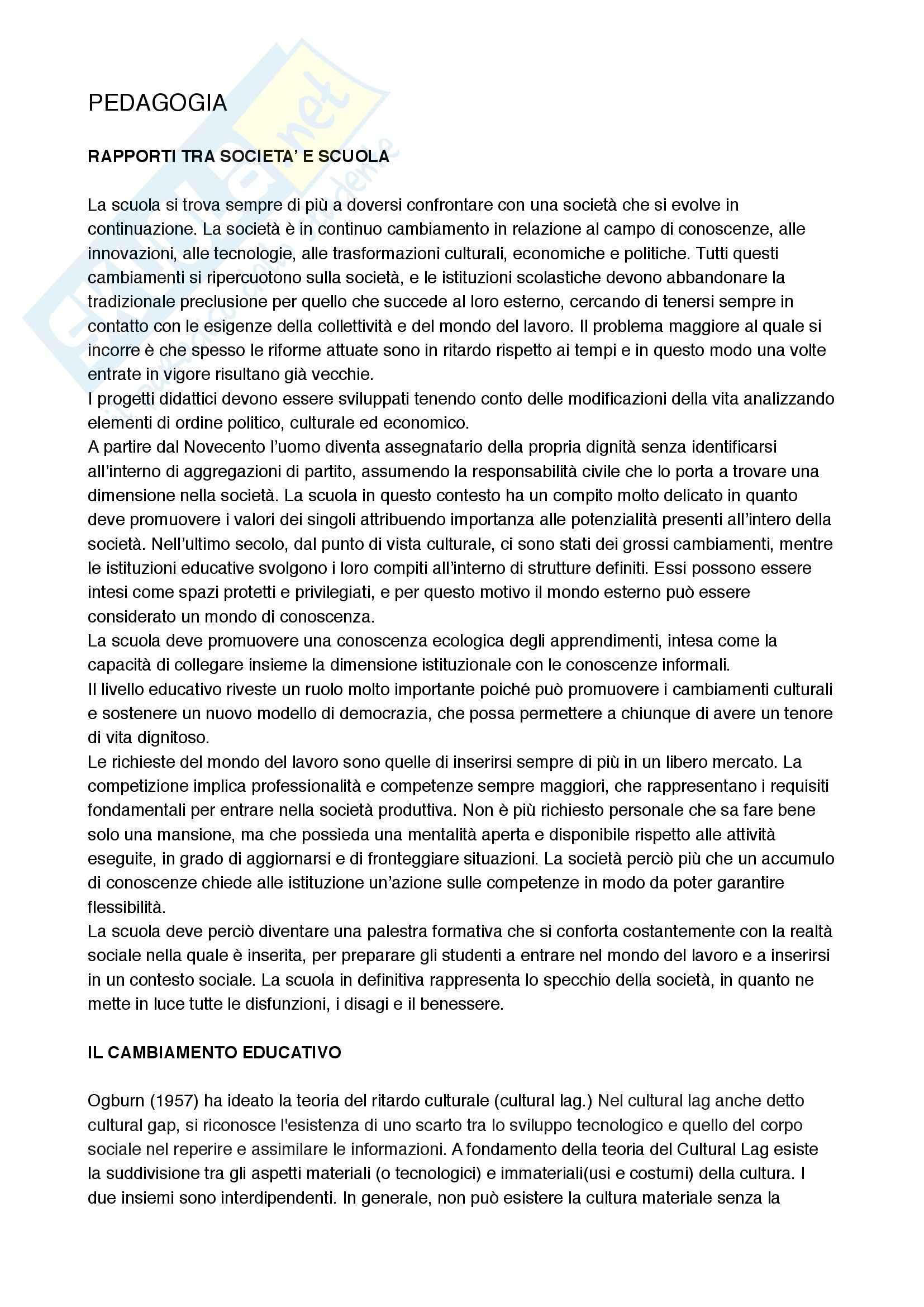 Autonomia scolastica e ricerca educativa, Pedagogia