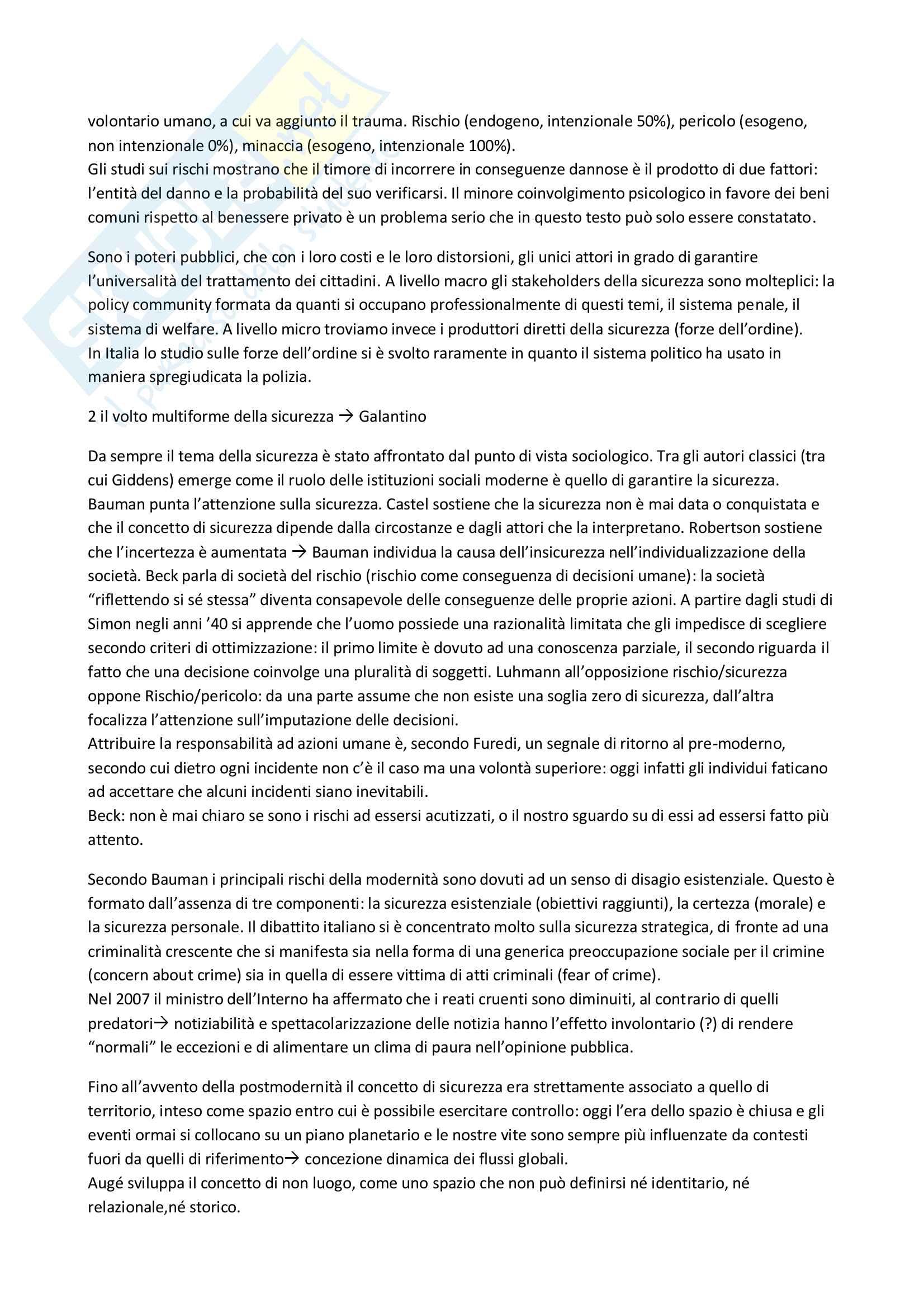 """Riassunto esame Sociologia Corso Avanzato, prof. Battistelli, libro consigliato """"La fabbrica della sicurezza"""" F. Battistelli Pag. 2"""