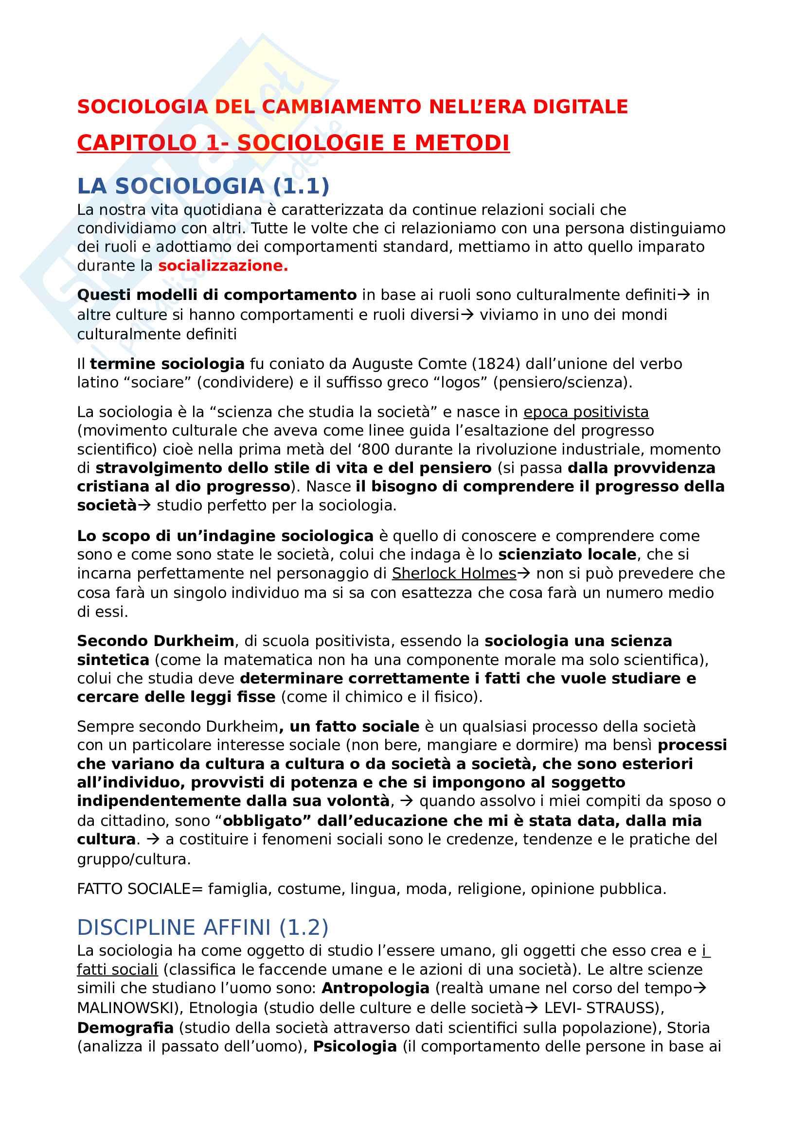 Sociologia del cambiamento nell' era digitale- 1° Parziale