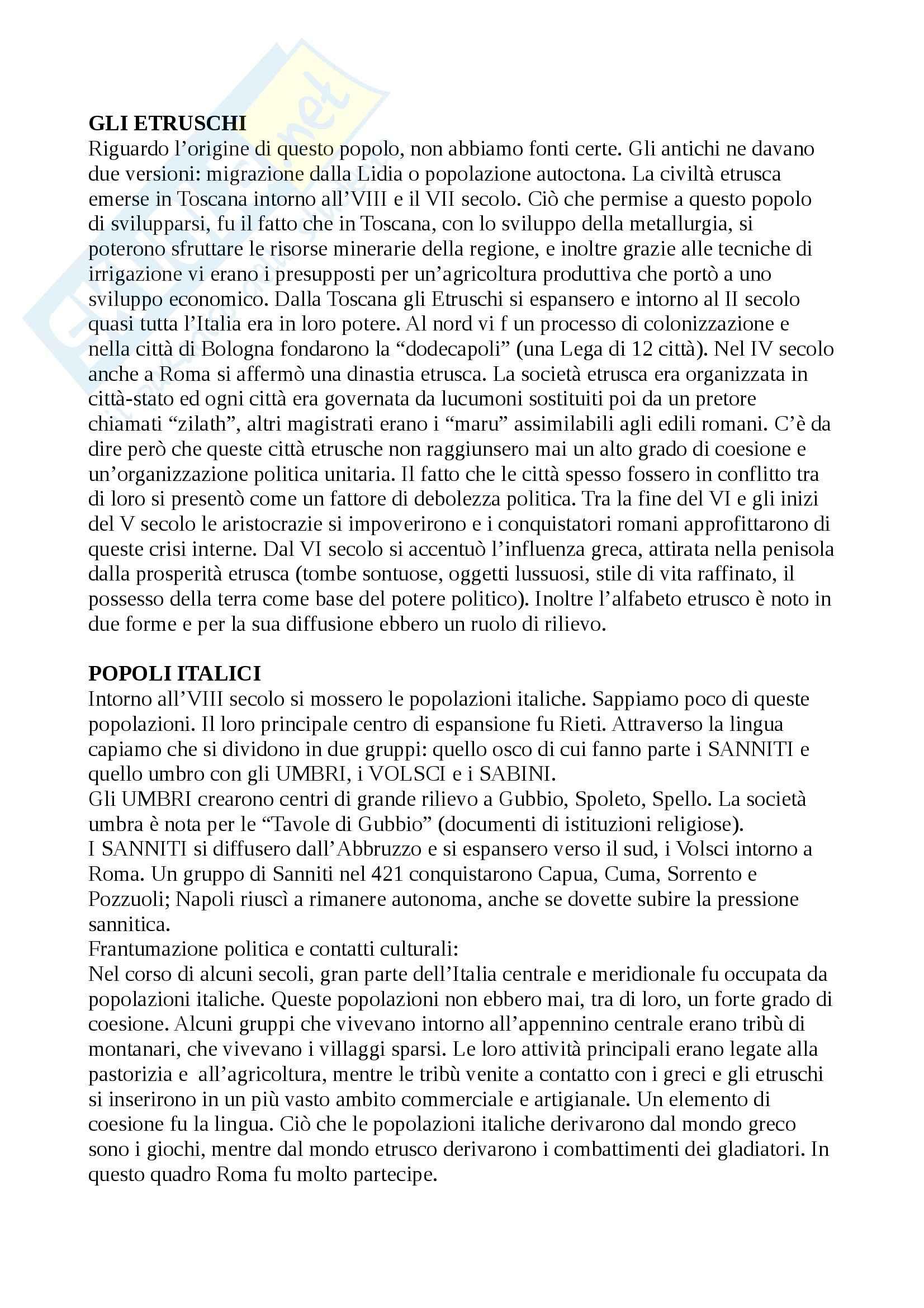 Riassunto esame Storia romana, libro adottato Guida alla storia romana, Clemente Pag. 2