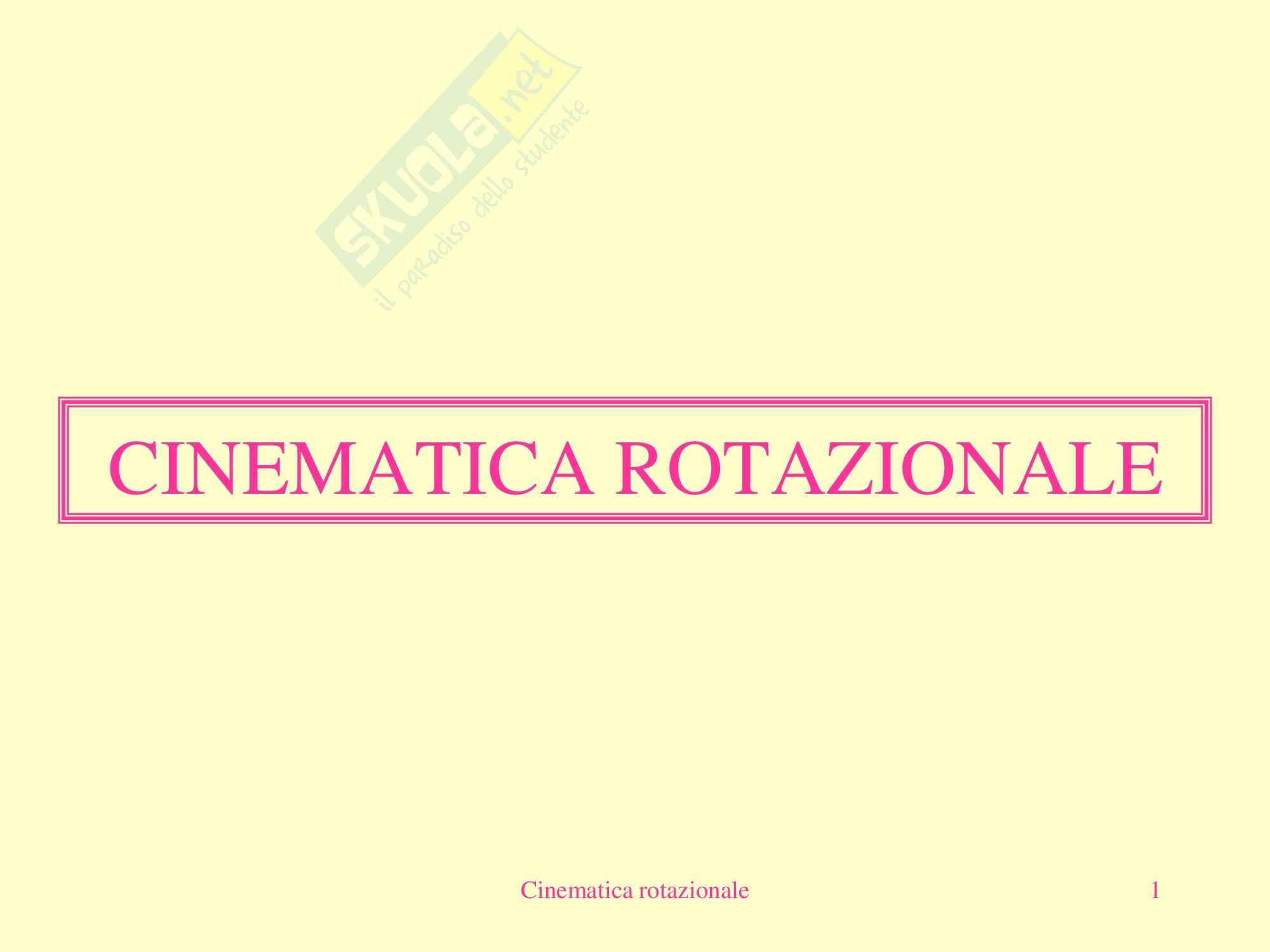 Fisica Medica - Cinematica Rotazionale