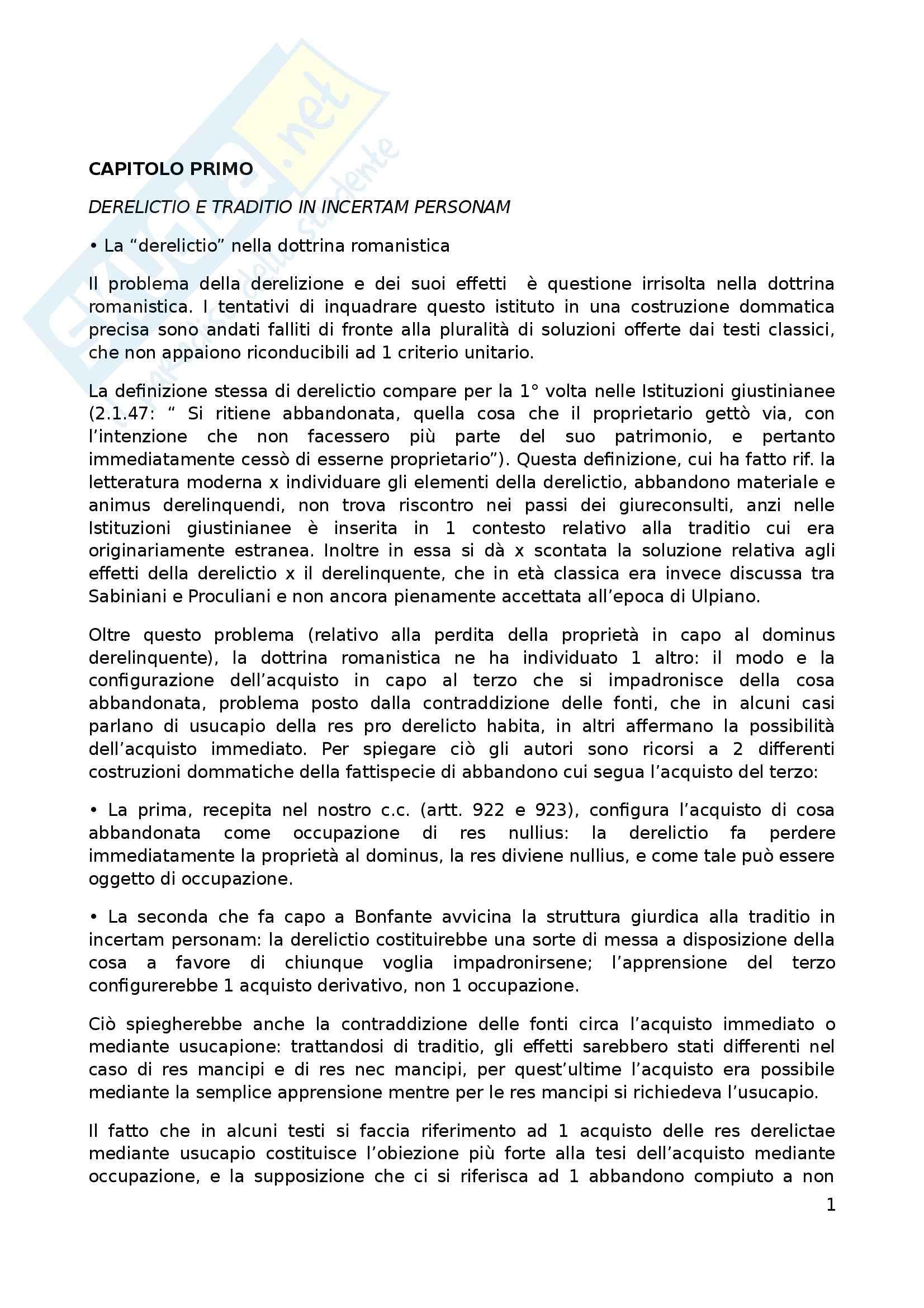 Riassunto esame Diritto Romano, prof. Rossetti, libro consigliato Possesso e Tempo nell'Acquisto della Proprietà, Vacca