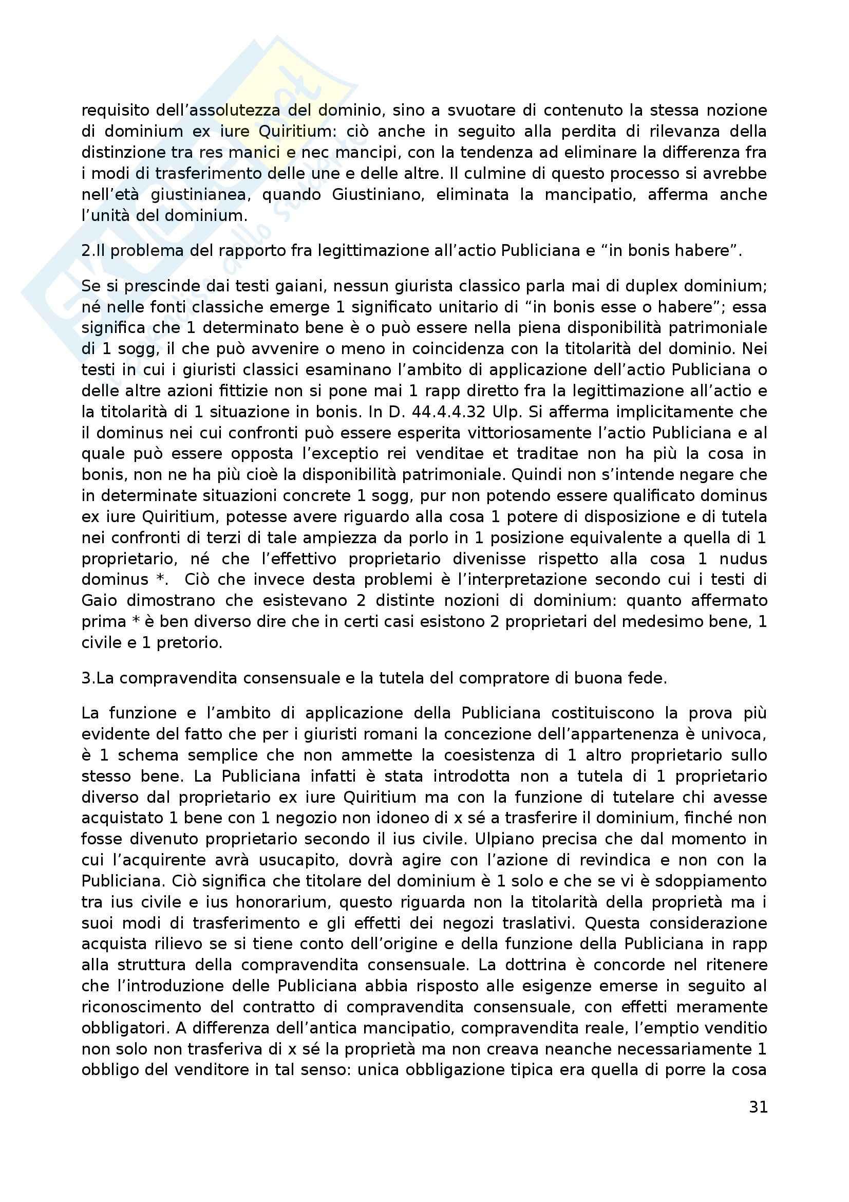 Riassunto esame Diritto Romano, prof. Rossetti, libro consigliato Possesso e Tempo nell'Acquisto della Proprietà, Vacca Pag. 31