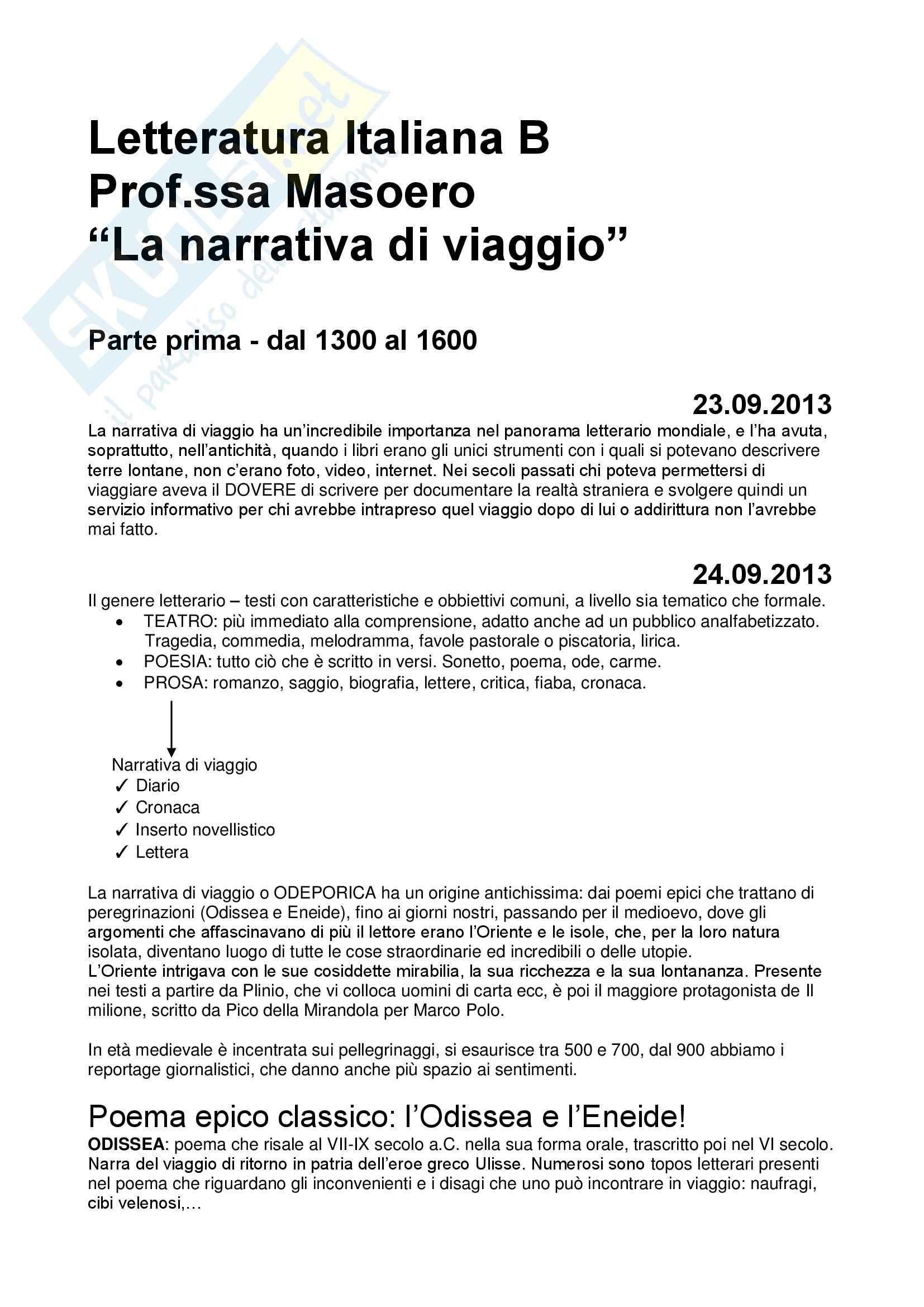 Letteratura italiana b -la narrativa di viaggio