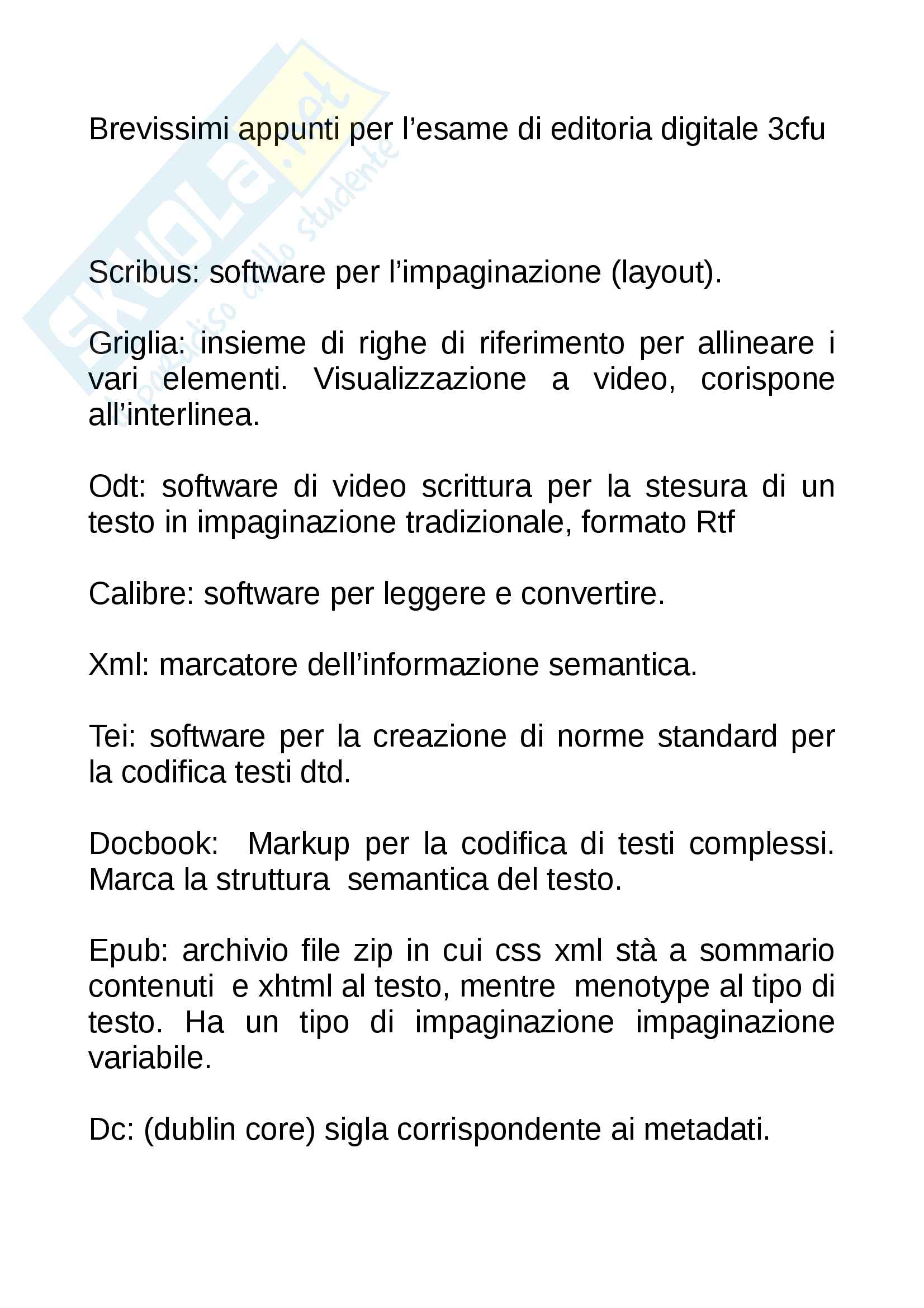 appunto P. Scienze letterarie Editoria digitale