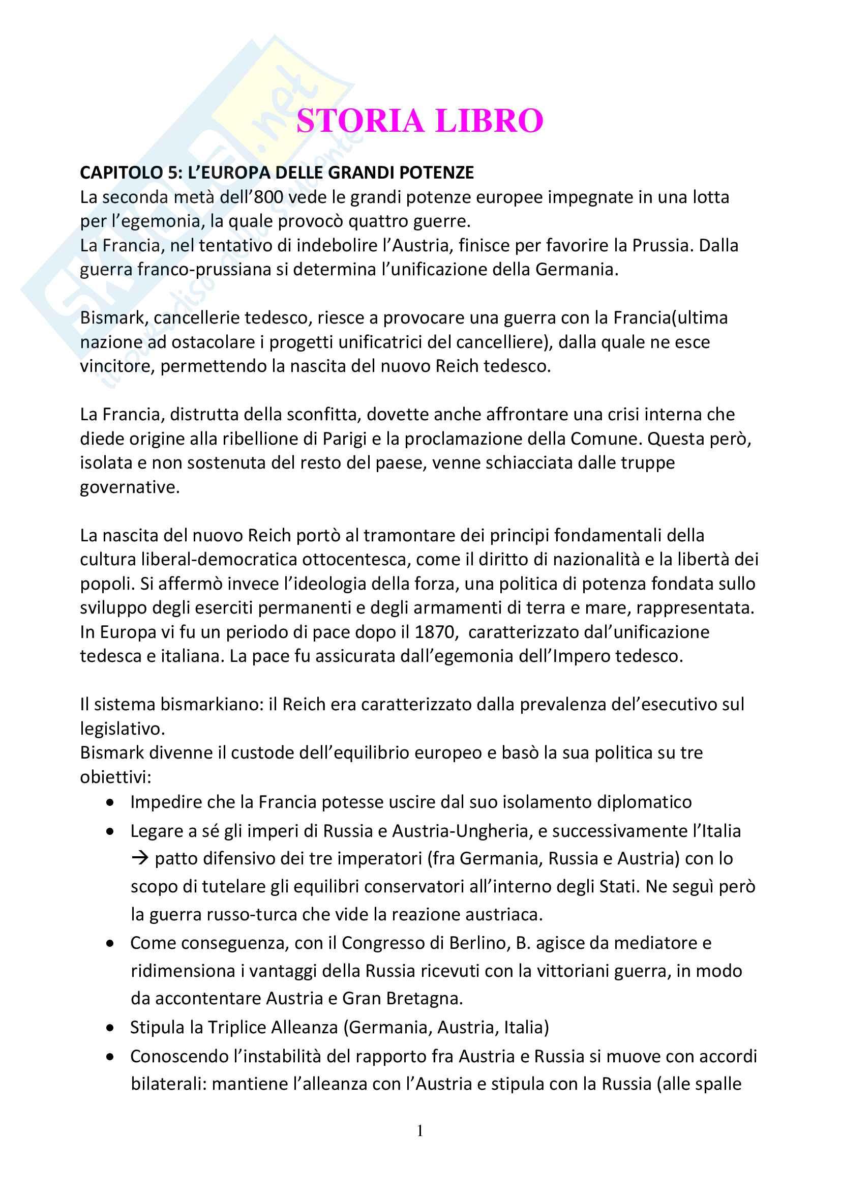 """Riassunto esame storia contemporanea, docente Del Zanna, libro consigliato """"Il mondo contemporaneo dal 1848 a oggi"""" di G. Sabatucci e V. Vidotto"""