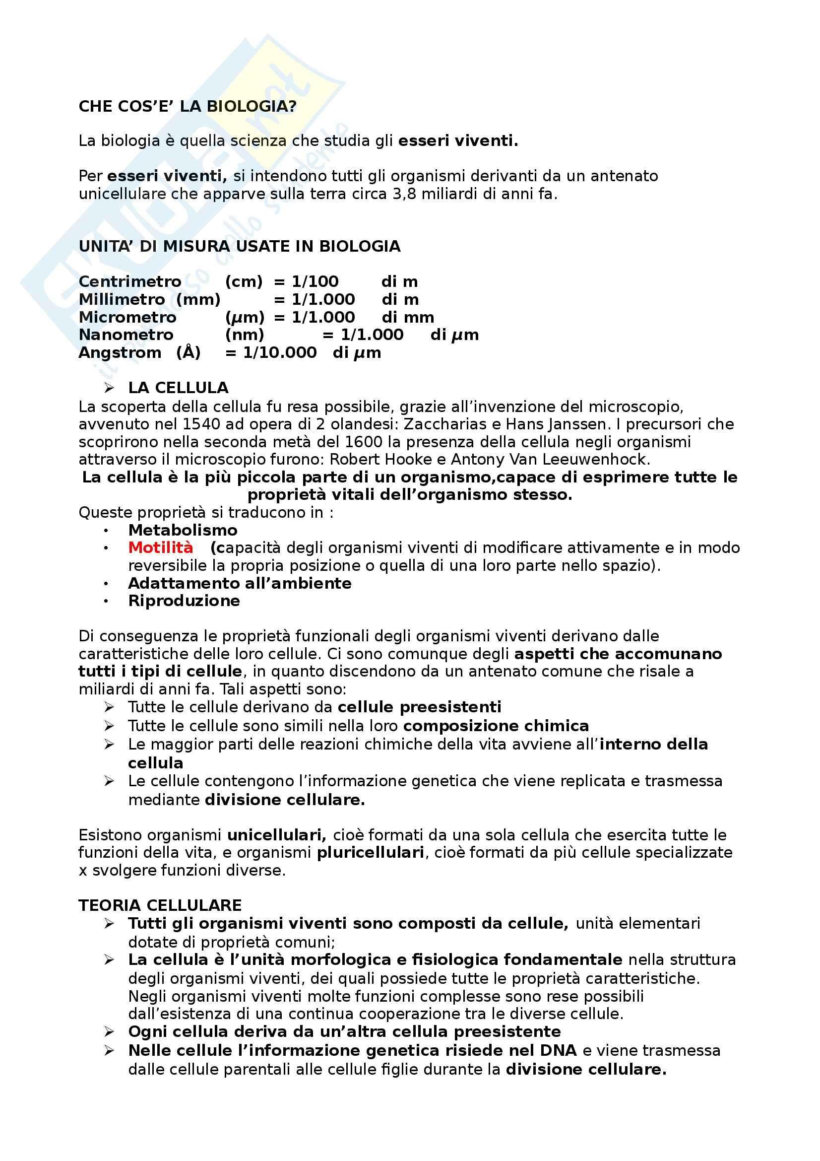 Riassunto esame Biologia umana, prof. Barbieri, libro consigliato La cellula, edizioni Zanichelli