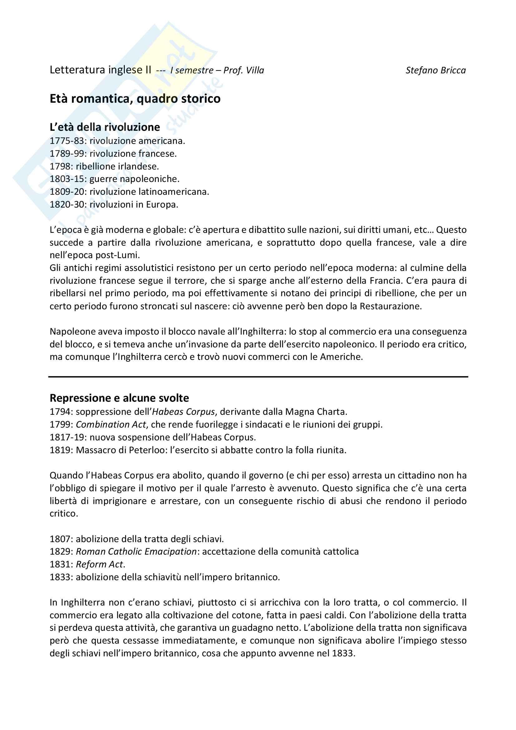 Appunti completi di Letteratura inglese II con la professoressa Villa Unige, LCM