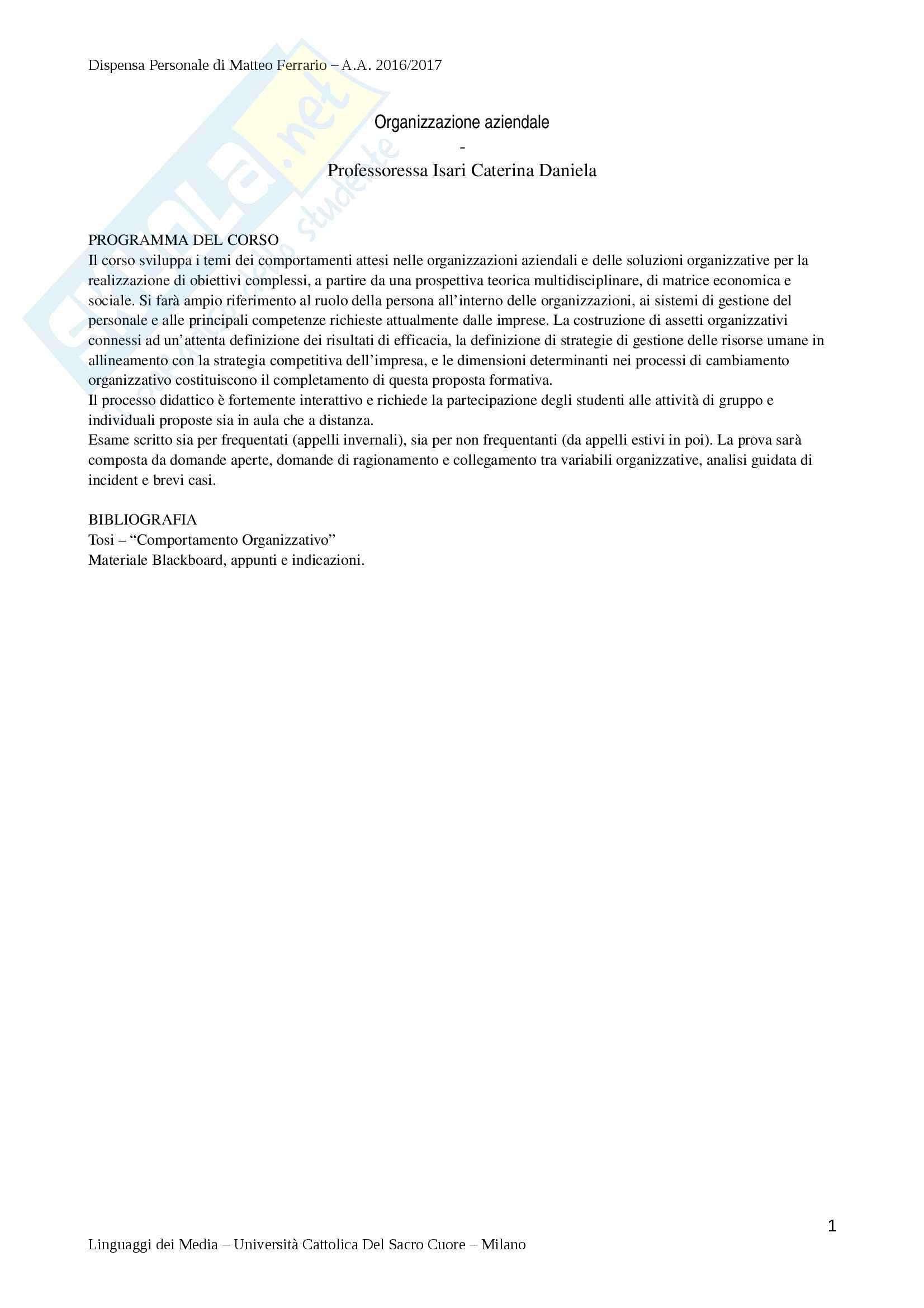 Riassunto Esame di Organizzazione Aziendale - Prof. Isari