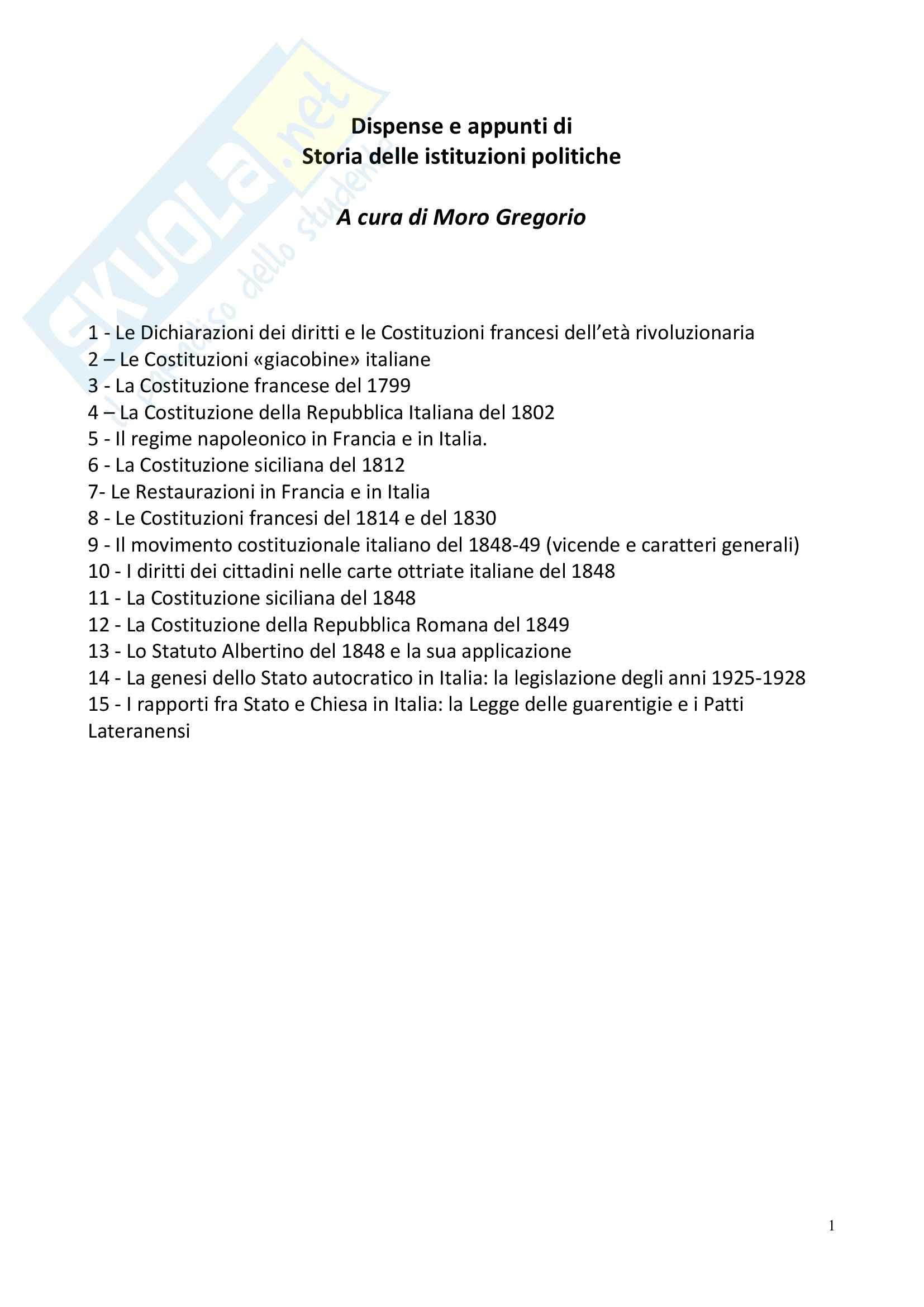 Storia delle istituzioni politiche - Appunti