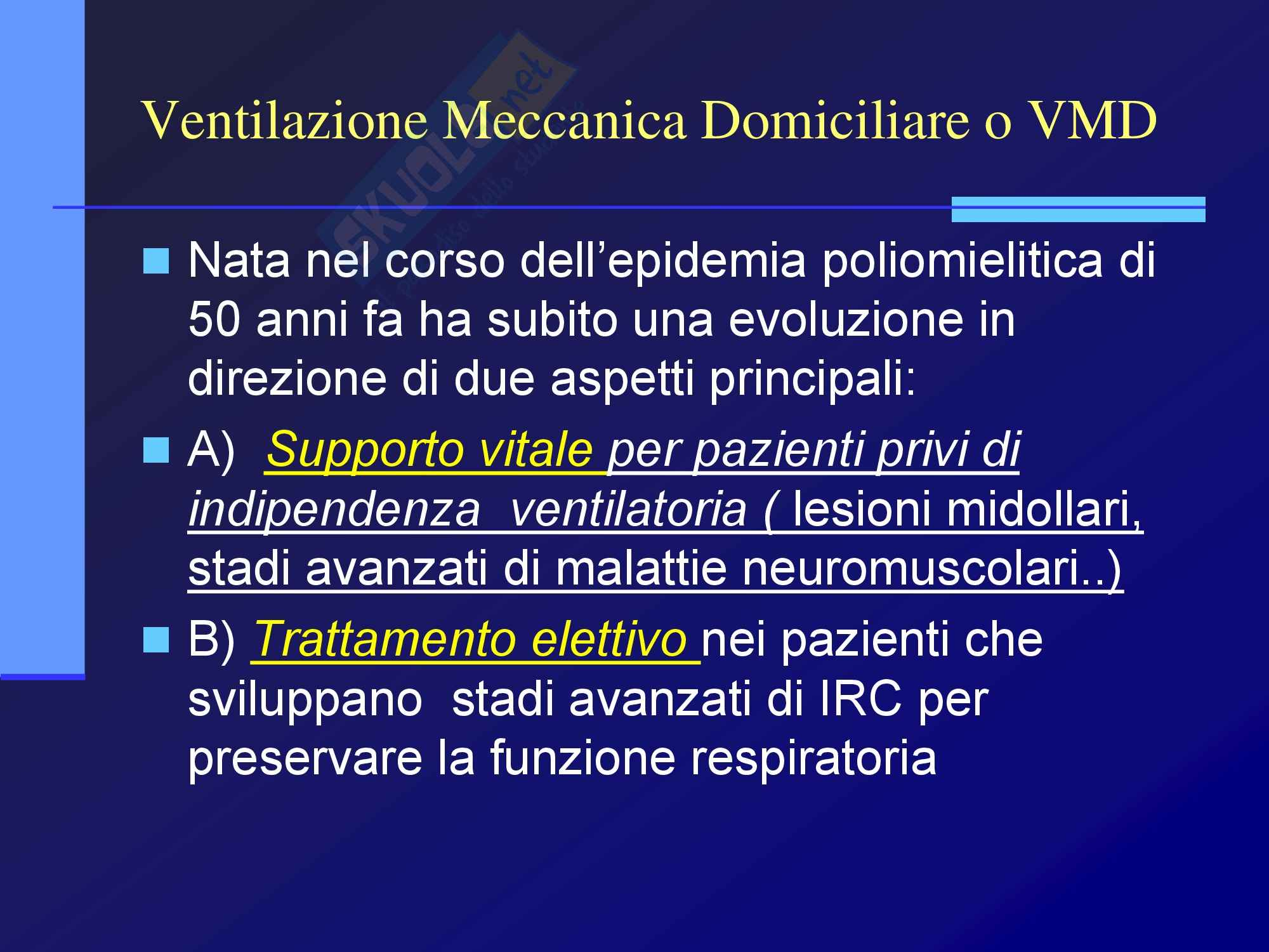 Malattie dell'apparato respiratorio - Ventilazione Meccanica Domiciliare