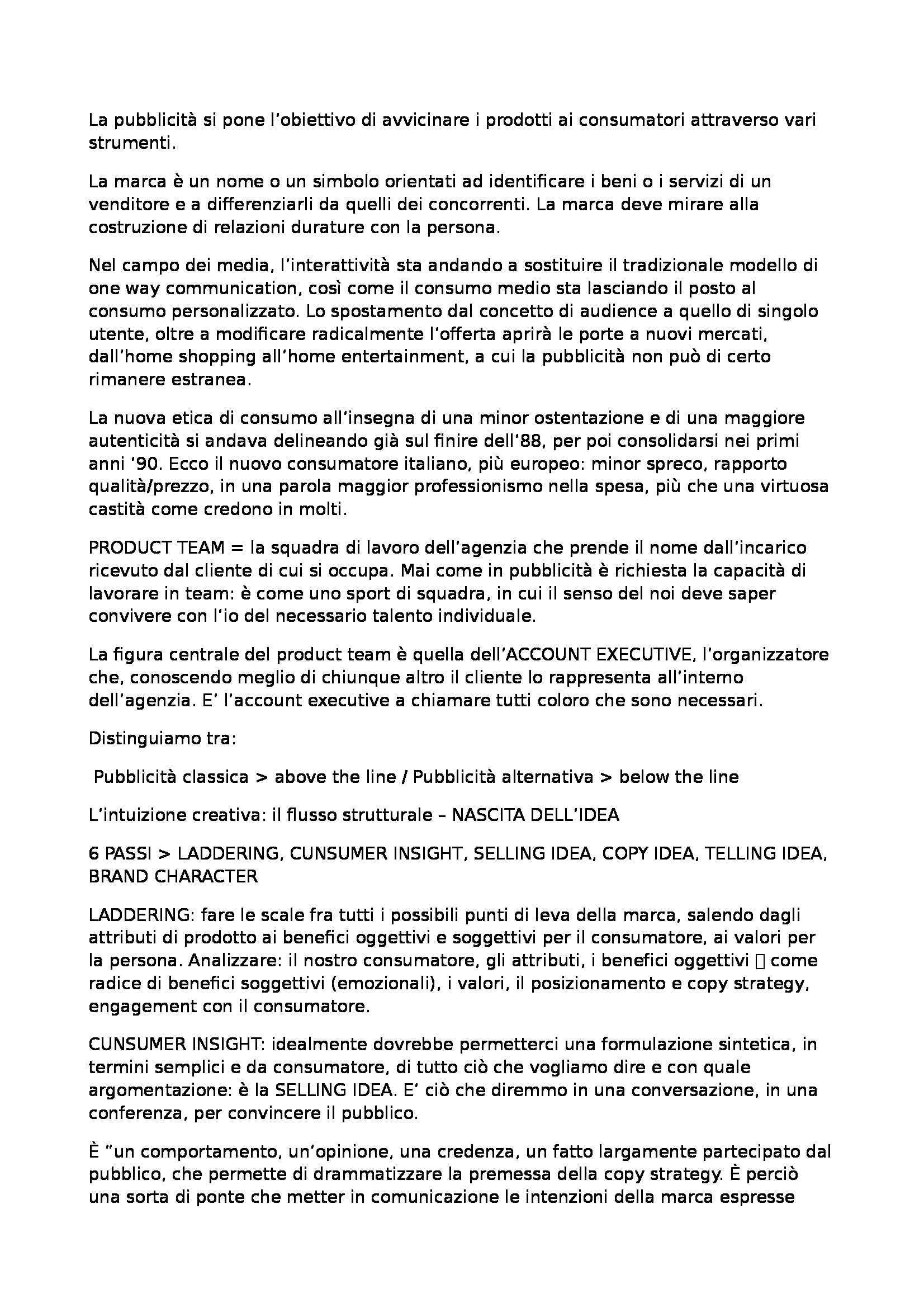 Riassunto esame Comunicazione Pubblicitaria, prof. Montieri, libro consigliato La Creatività in Pubblicità, Lombardi