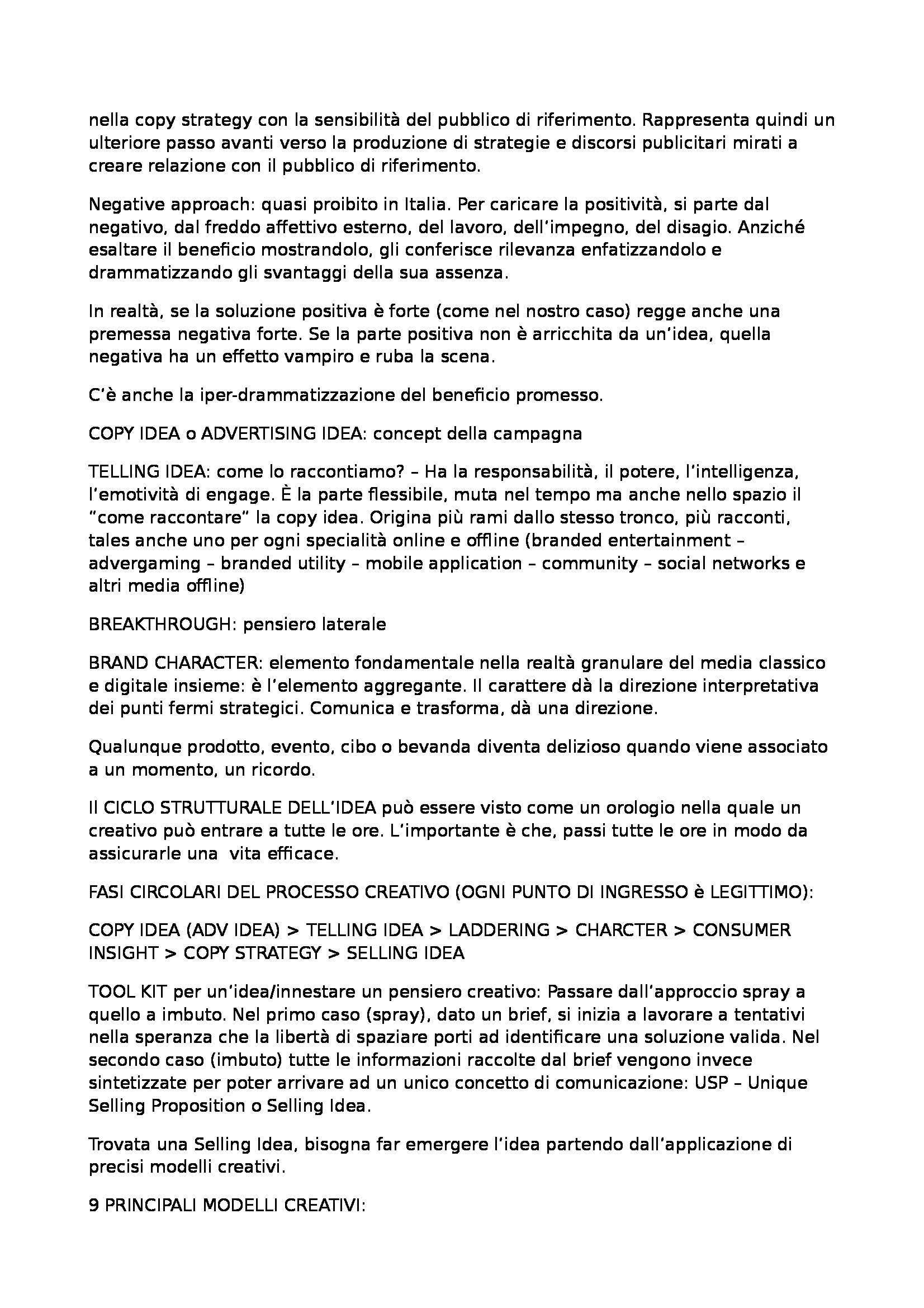 Riassunto esame Comunicazione Pubblicitaria, prof. Montieri, libro consigliato La Creatività in Pubblicità, Lombardi Pag. 2