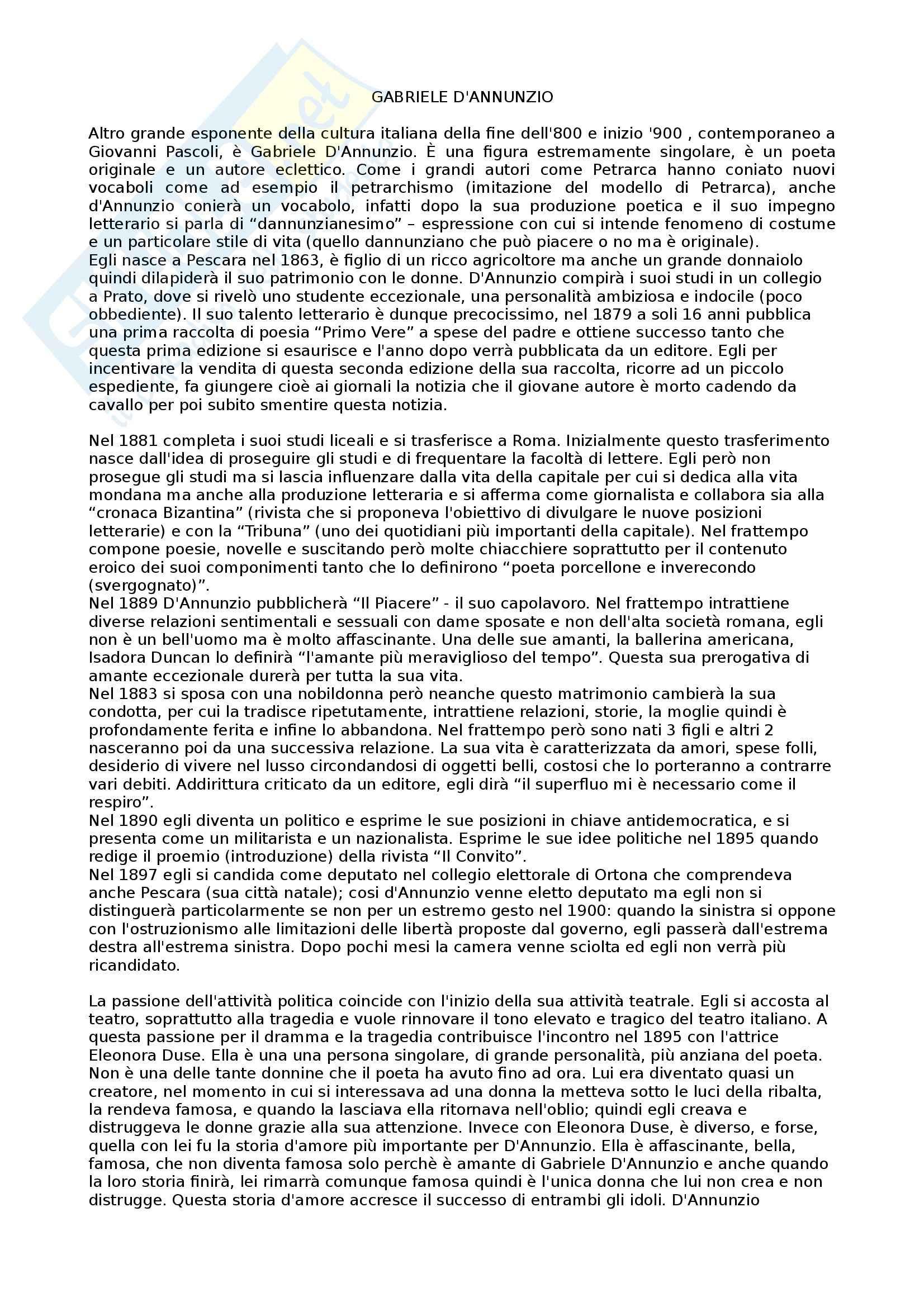 Letteratura italiana -Gabriele D'Annunzio