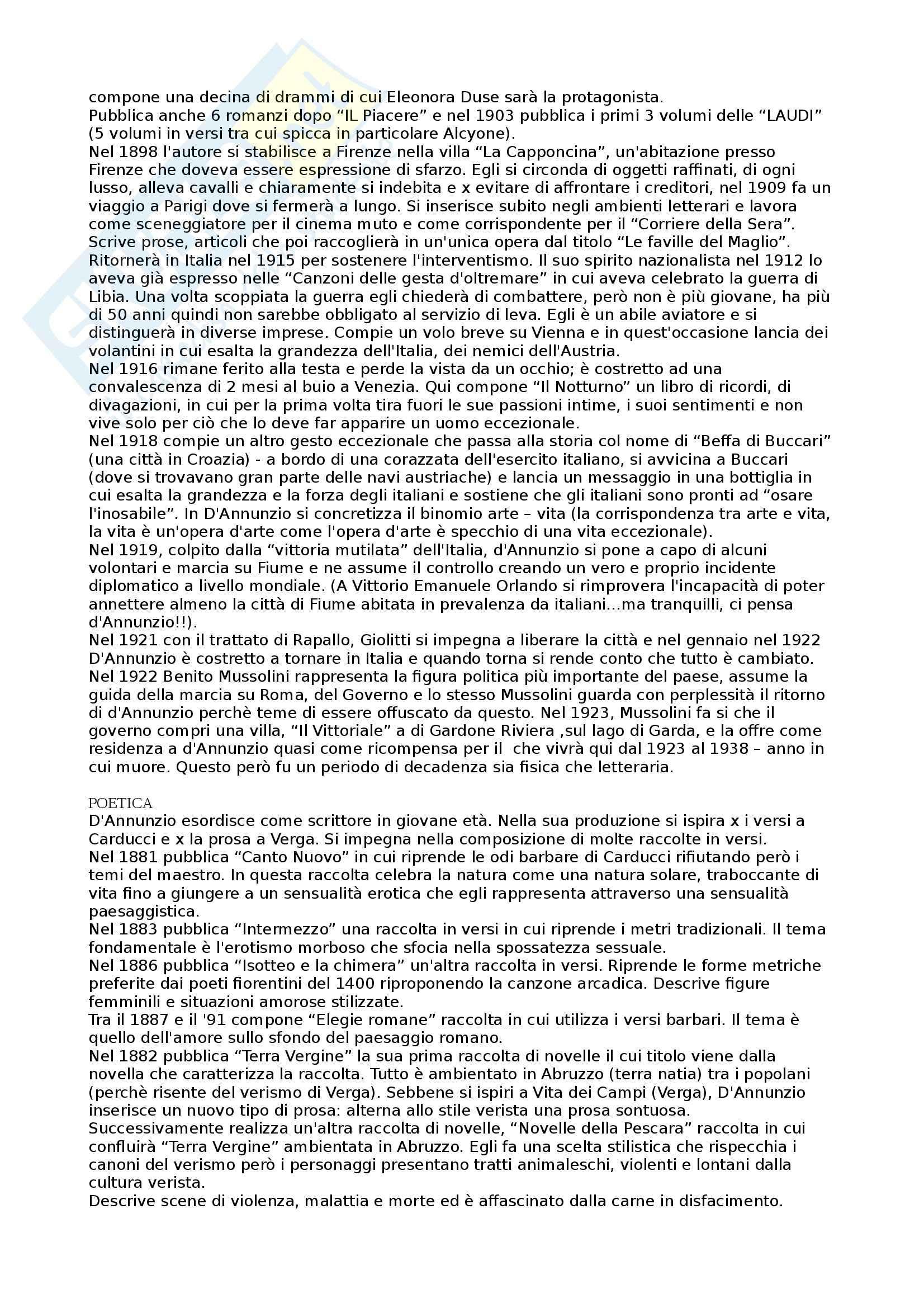 Letteratura italiana -Gabriele D'Annunzio Pag. 2