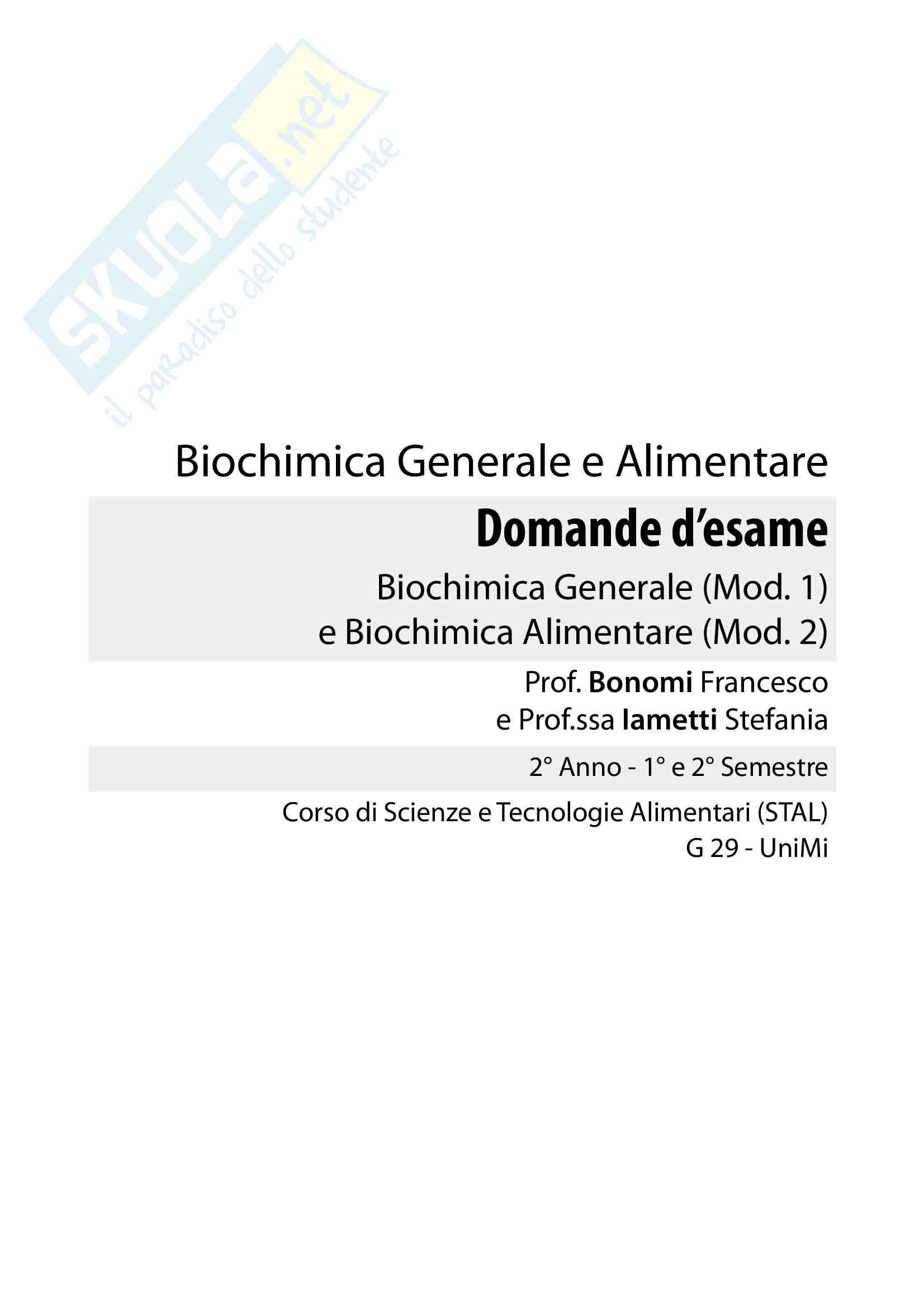 Domande Biochimica Generale e Alimentare (Mod. 1 e 2)